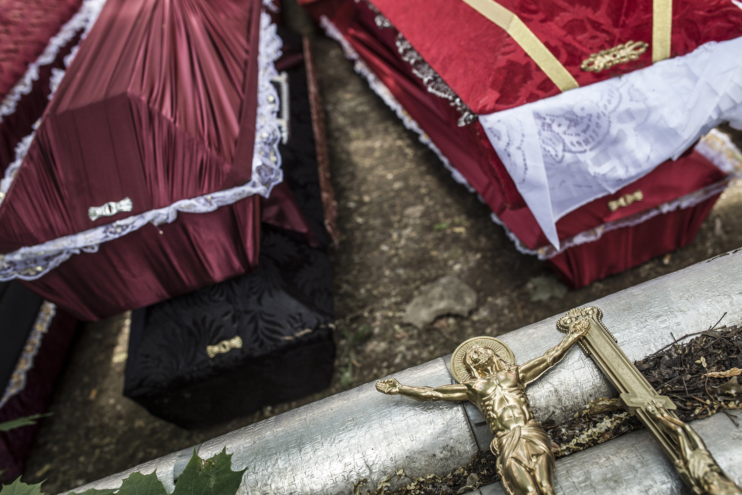 May 29, 2014. Coffins of members of the Vostok Battallion, who were killed in clashes at the airport, in Donetsk, Ukraine.