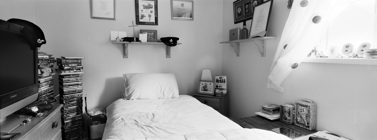Rifleman Paul Donnachie, 18, was killed by small arms fire on April 29, 2007 in Basra, Iraq . He was from Reading, England. His bedroom was photographed on March 11, 2011.