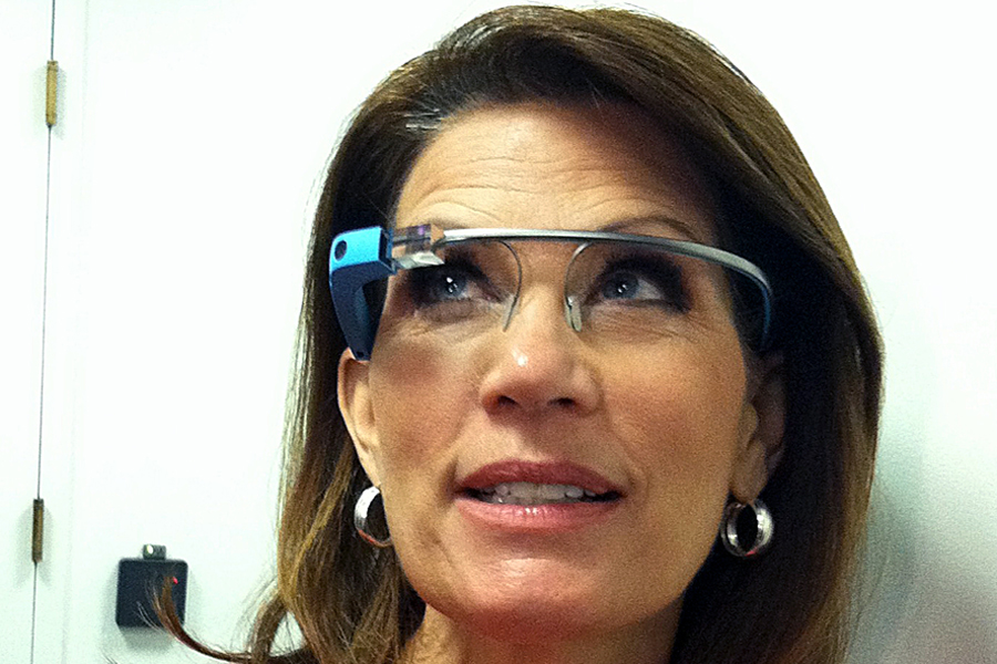 Michele Bachmann tries Google Glass after leaving a meeting of the Republican Party Caucus on Capitol Hill on May 15, 2013.