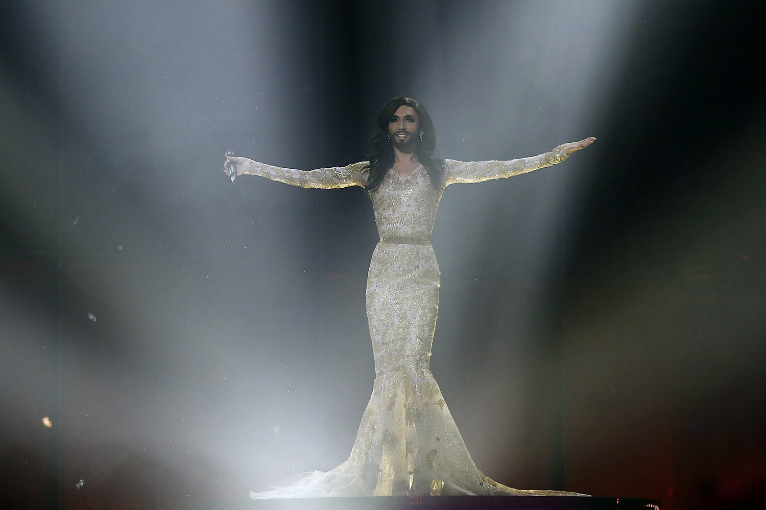 May 7, 2014. Singer Conchita Wurst, also known by his birth-name Thomas Neuwirth, performs the song '  Rise Like a Phoenix' during a rehearsal for the second semifinal of the Eurovision Song Contest in the B&W Halls in Copenhagen, Denmark.