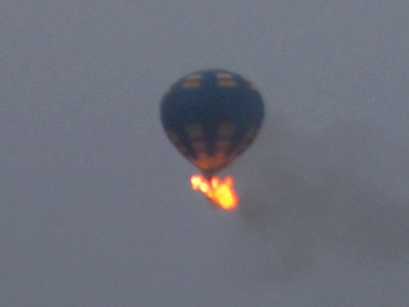 A hot-air balloon that was believed to have caught fire and crashed in Virginia, on May 10, 2014.