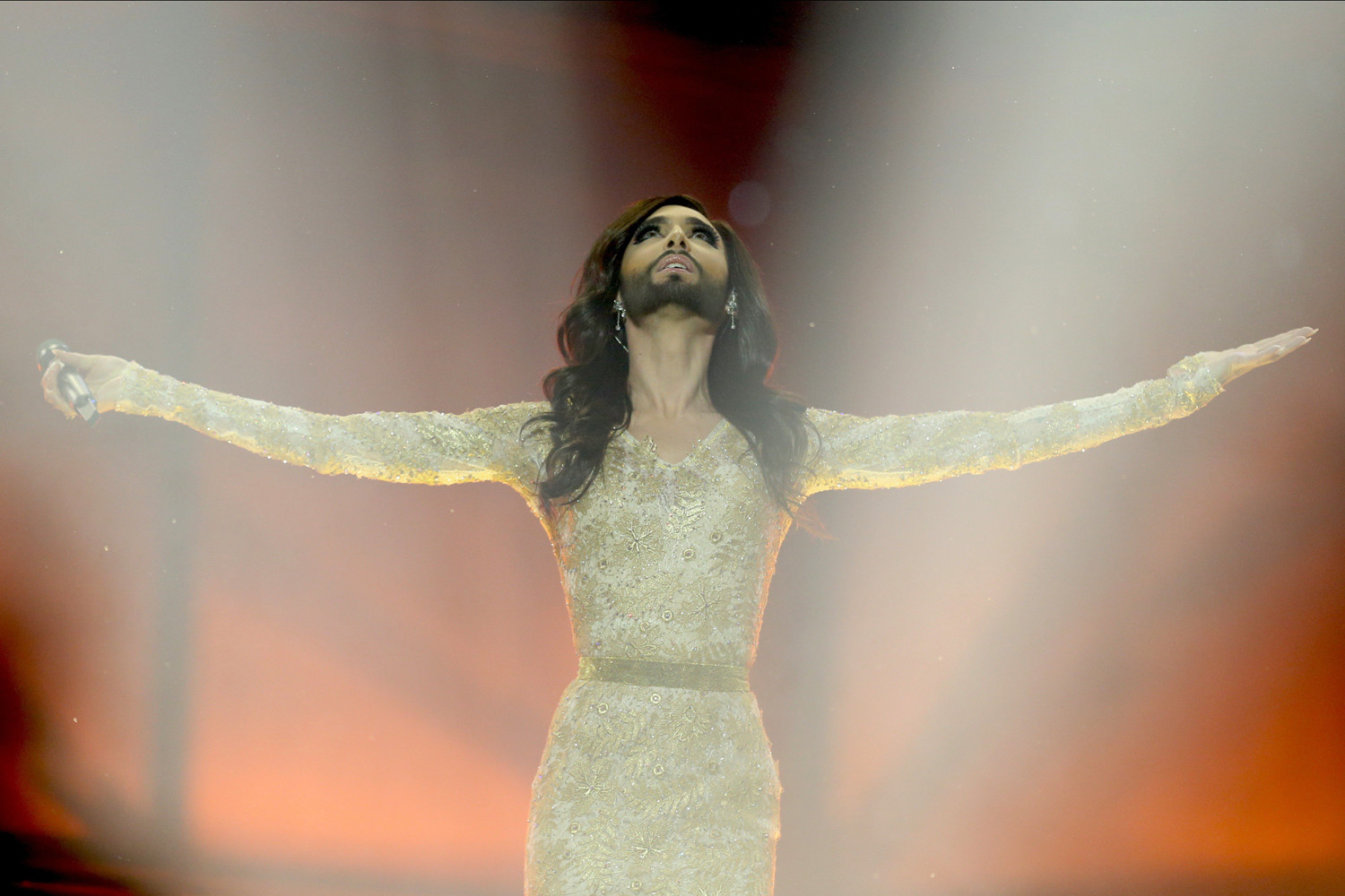 Conchita Wurst representing Austria performs during a dress rehearsal for the second semi-final of the 59th Eurovision Song Contest in Copenhagen on May 7, 2014.