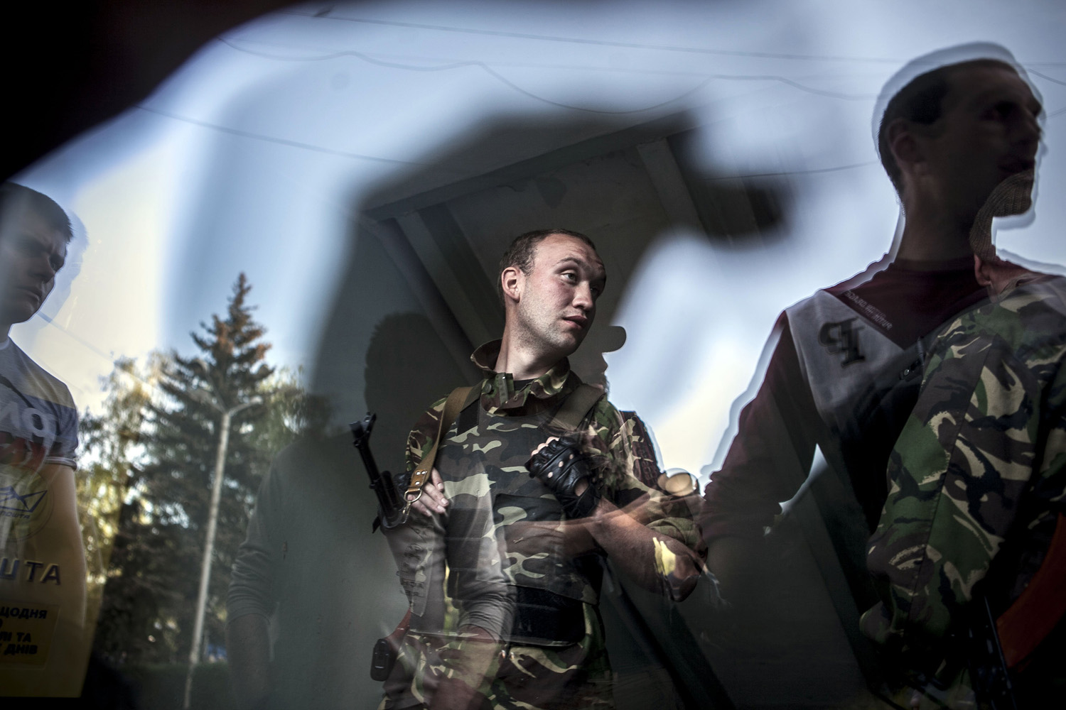 May 11, 2014. Ukranian militia tried to stop the referendum voting briefly taking the City Hall,  where unarmed pro Russian civilians were gathering, in the Eastern Ukranian town of Krasnoarmisk.