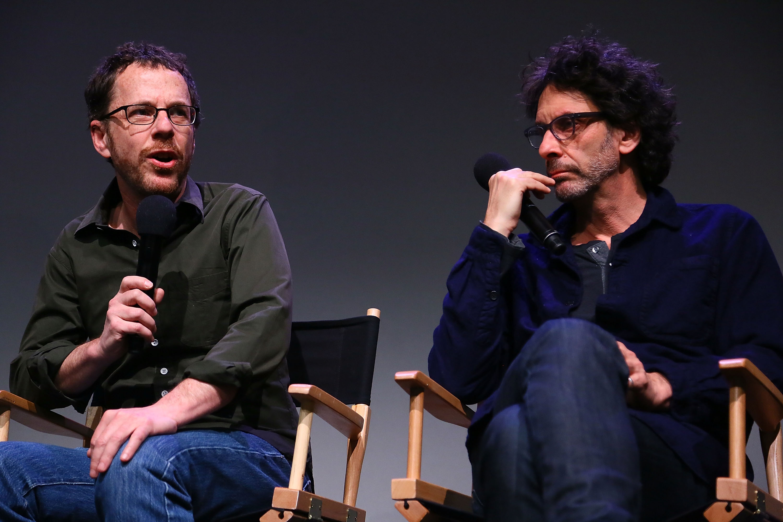 (L-R) Ethan Coen and Joel Coen speak during Meet The Filmmakers: 'Inside Llewyn Davis' at the Apple Store Soho on November 25, 2013 in New York City.