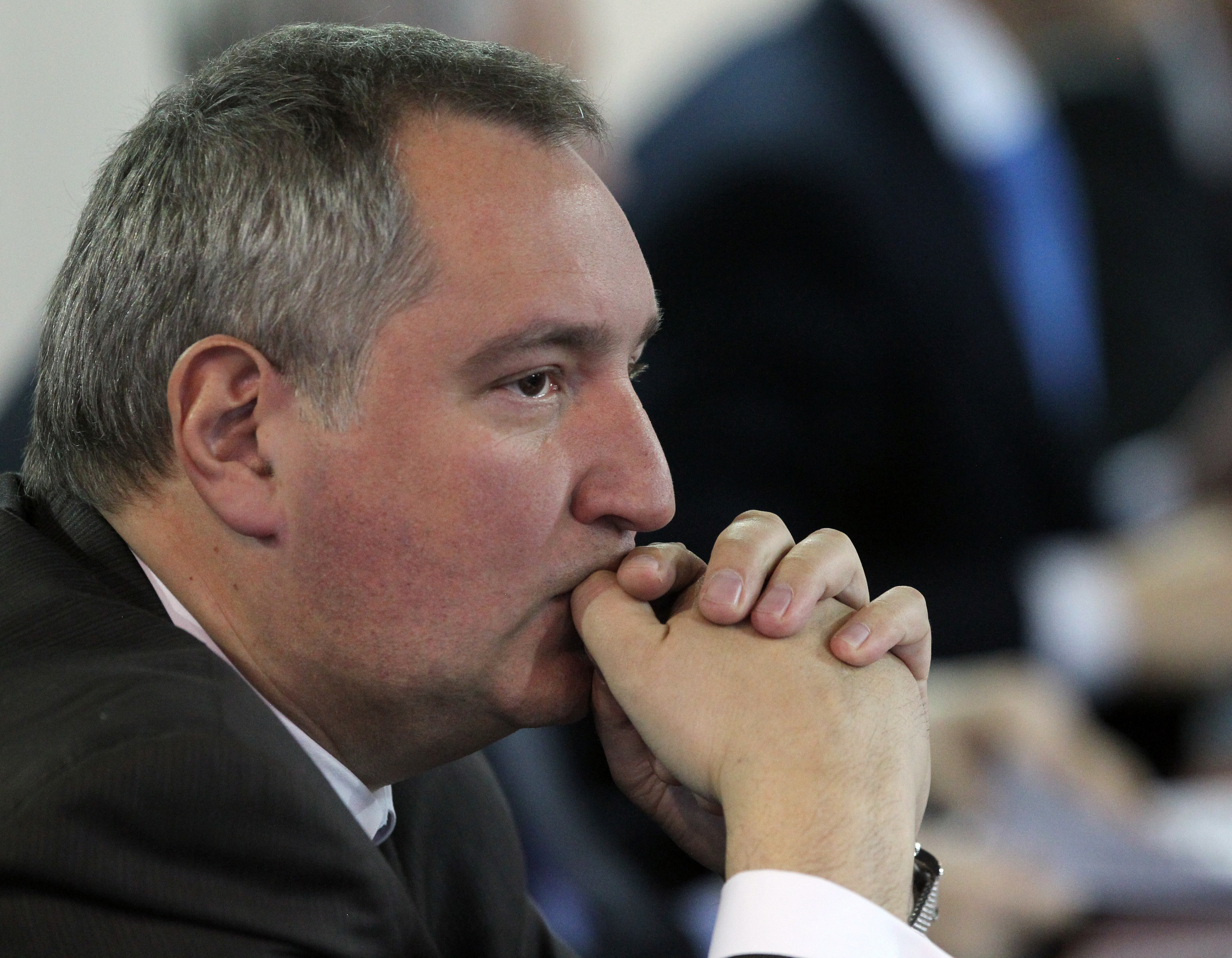 Russian Deputy Prime Minister Dmitry Rogozin attends a meeting at the KBP Instrument Bureau, a high-precious weapon plant in Tula, 160 km. south of Moscow, on Jan. 20, 2014