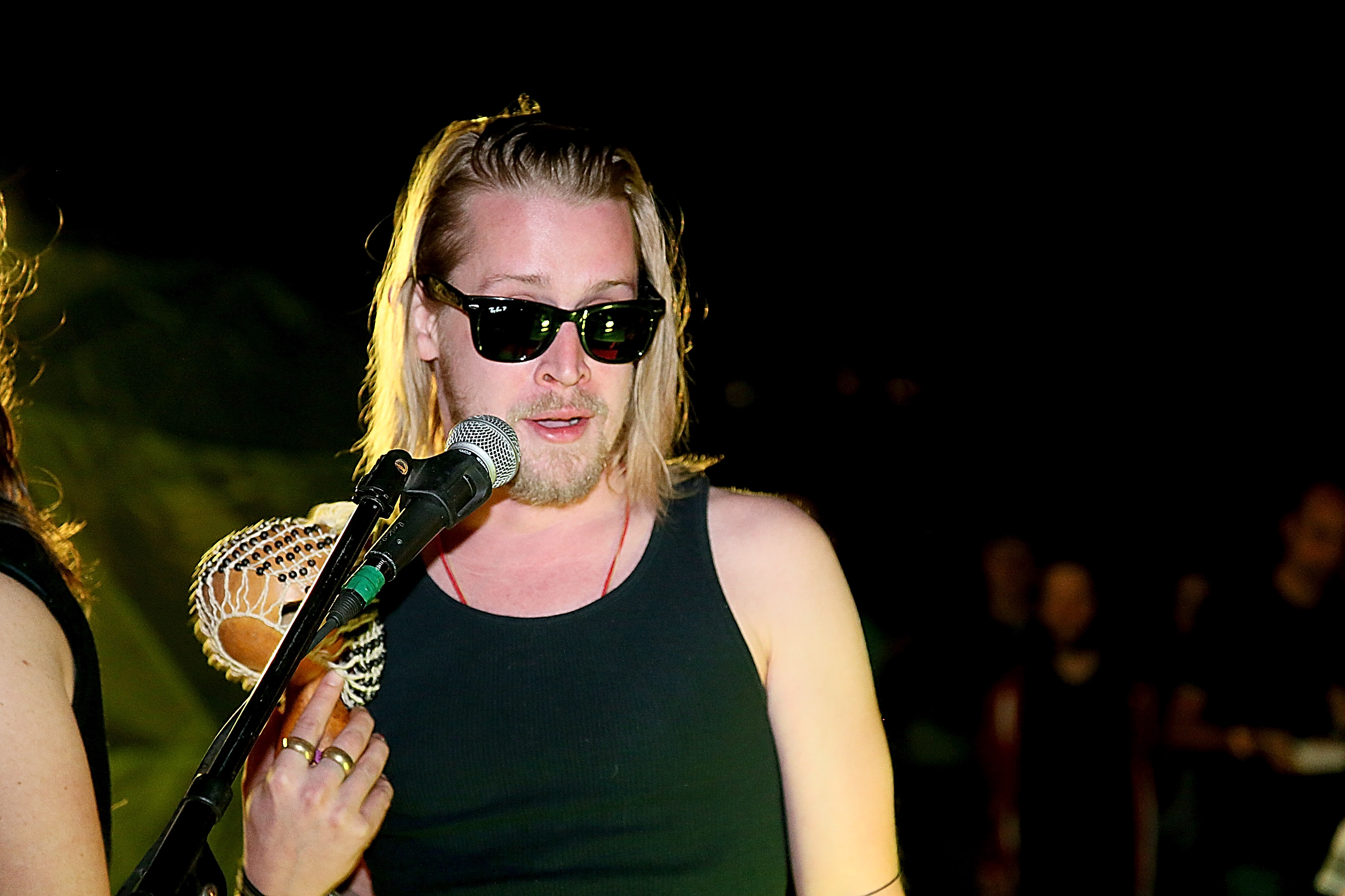 Macaulay Culkin performs with Pizza Underground at Unconventional Oven on Jan. 31, 2014 in Austin, Texas.