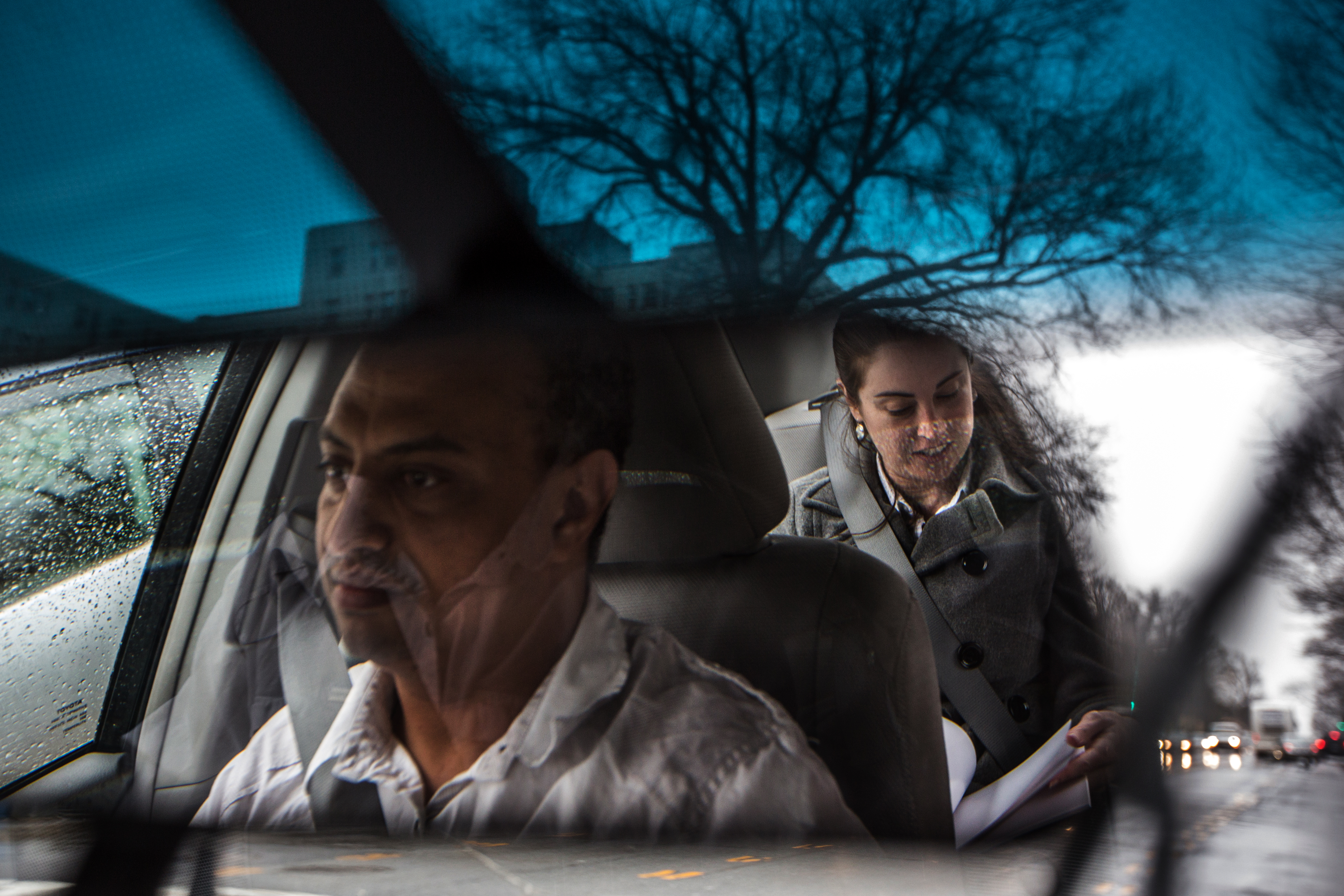 UberX driver, Michael Belet, a former Barwood driver, drives Nora Toiv to Alexandria, VA , April 7, 2014.