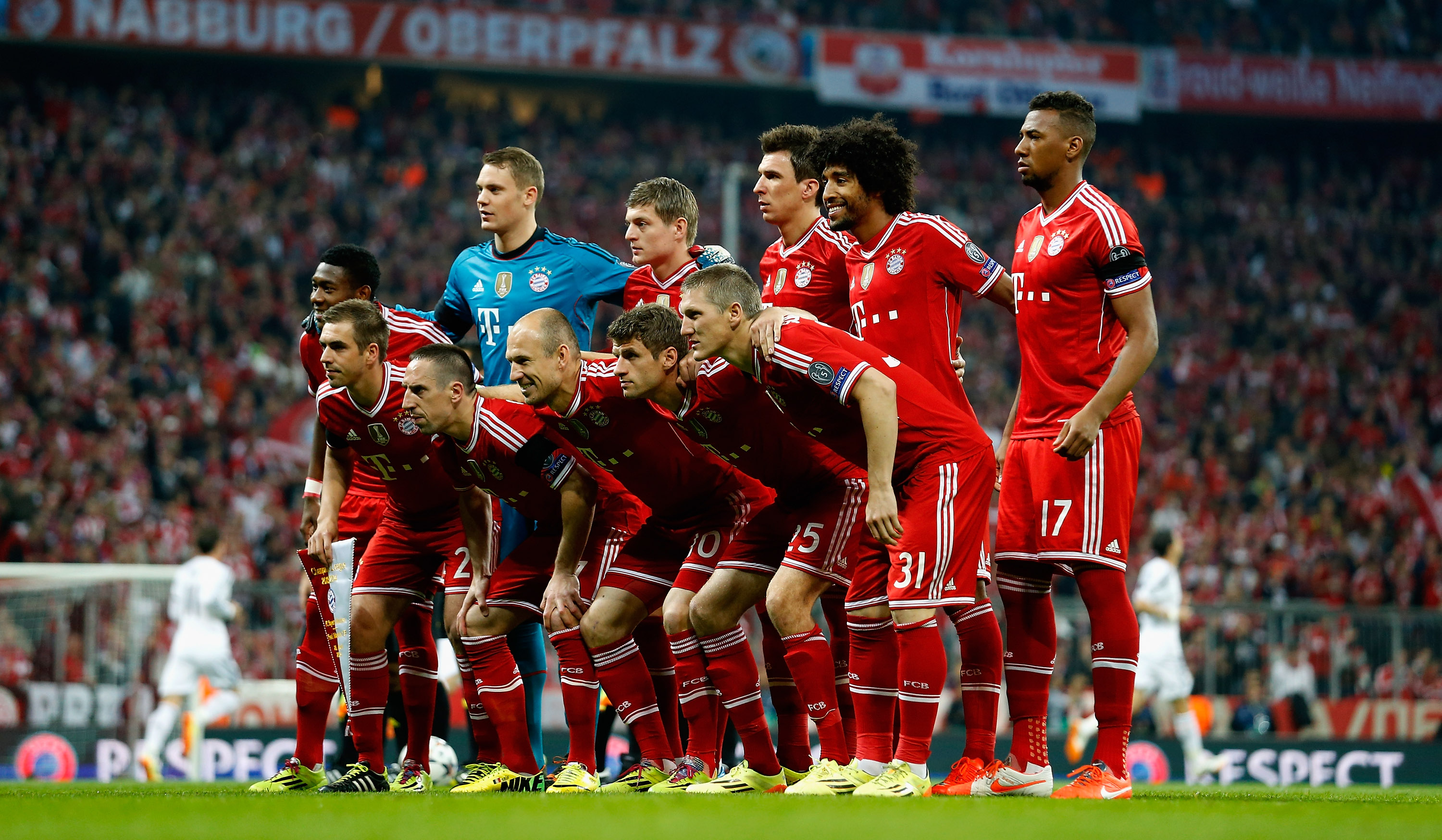 Real Madrid challenges Bayern Munich during the UEFA Champions League semi-finals.