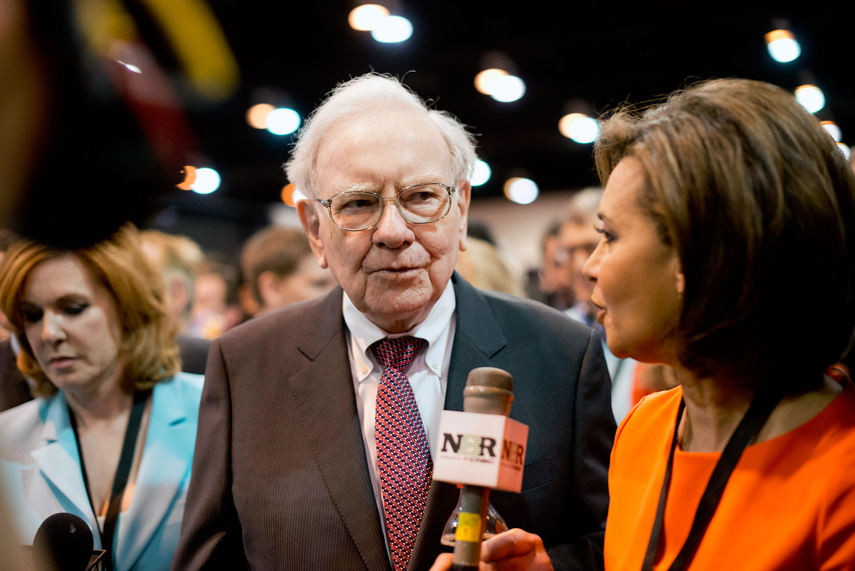 Warren Buffett, chairman of Berkshire Hathaway, Inc., tours the exhibition floor prior to the Berkshire Hathaway shareholders meeting in Omaha, Nebraska, May 3, 2014.