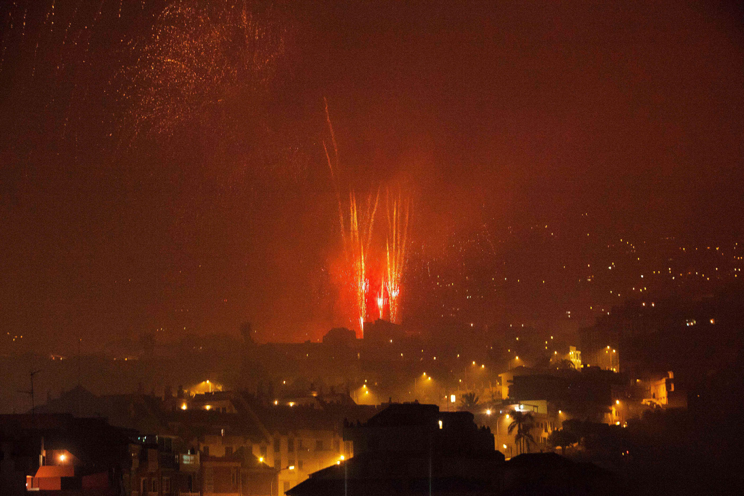 May 3, 2014. A view of fireworks during the Holy Cross day in the village of Los Realejos, on the Spanish canary island of Tenerife.