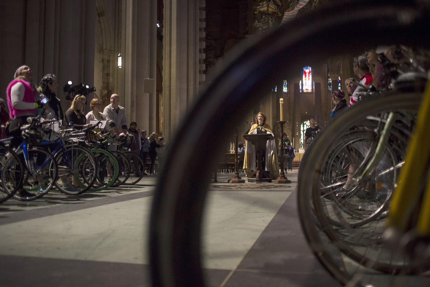 Reverend Julia Whitworth leads the 16th Annual Blessing of the Bikes at Cathedral Church of St. John the Divine on in New York City on May 3, 2014.