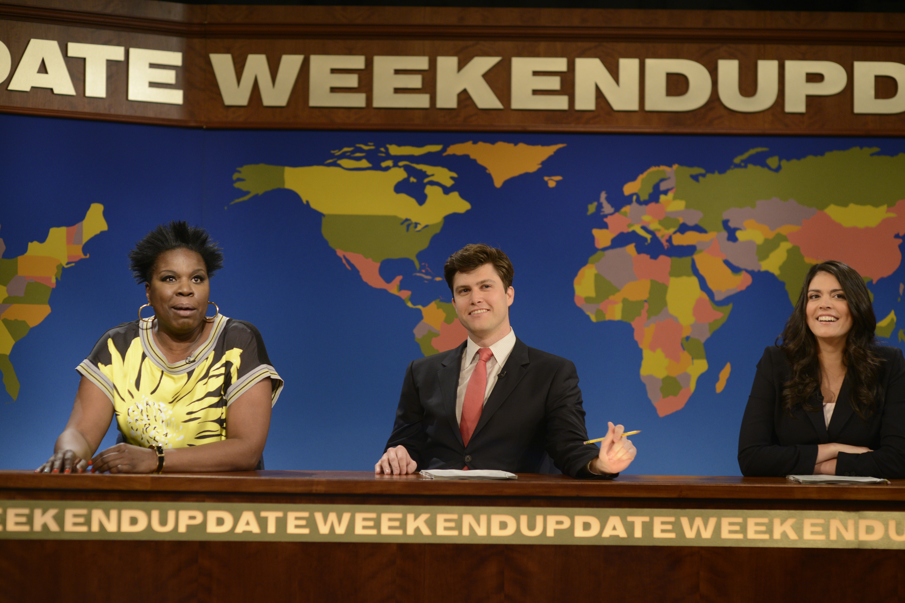 Leslie Jones, Colin Jost and Cecily Strong during Weekend Update on May 3, 2014.