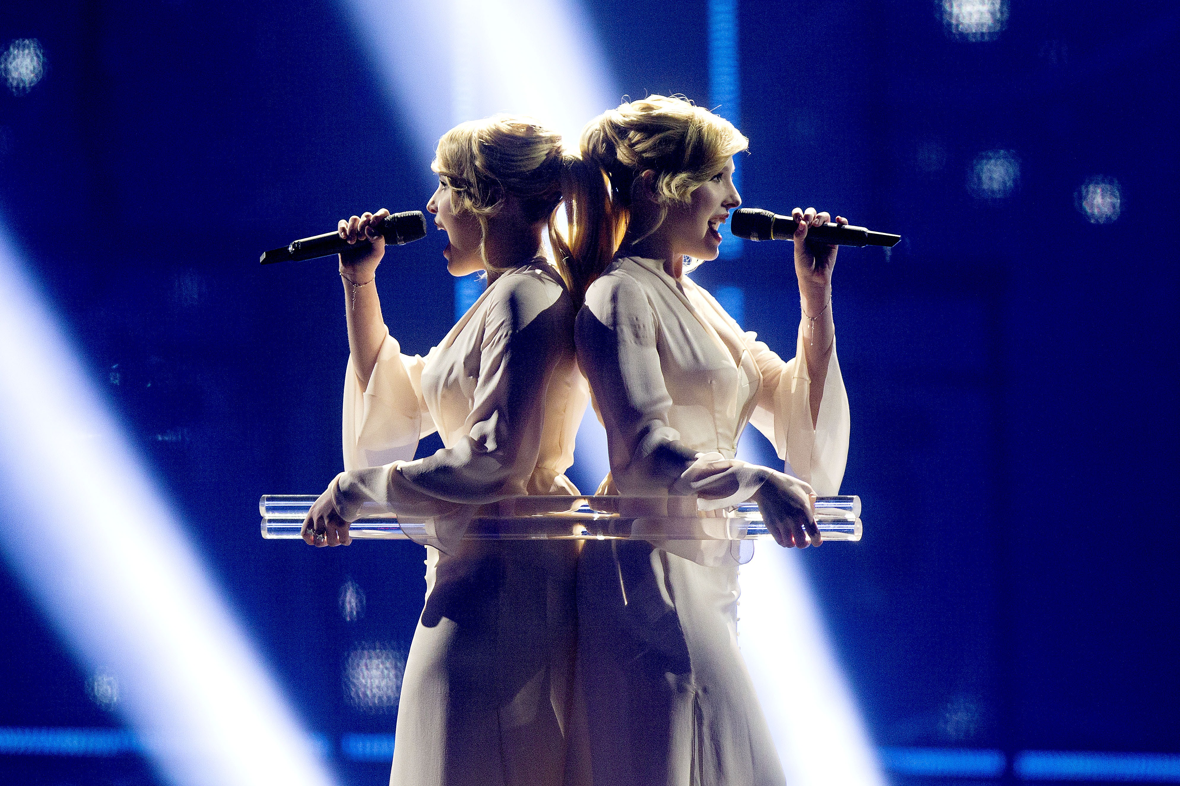 The Tolmachevy Sisters representing Russia performs during the first semi-final at Eurovision Village as part of Eurovision 2014, on May 6, 2014 in Copenhagen, Denmark. The final of the competition will be held in the Danish capital on May 10, 2014.
