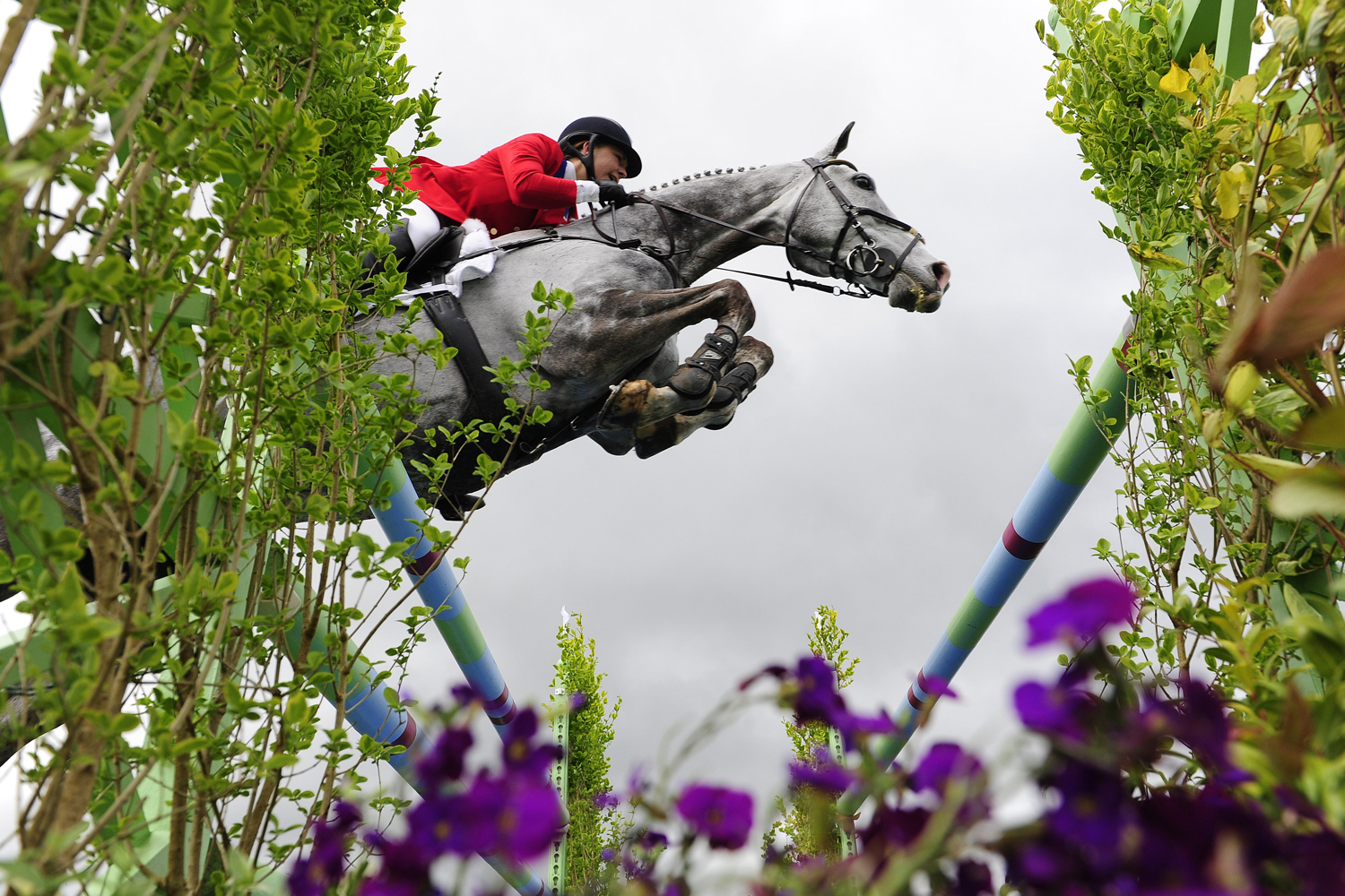 May 11, 2014.  Tiana Coudray of The USA riding Ringwood Magister during the Show Jumping on day five of the Badminton Horse Trials in Badminton, England.
