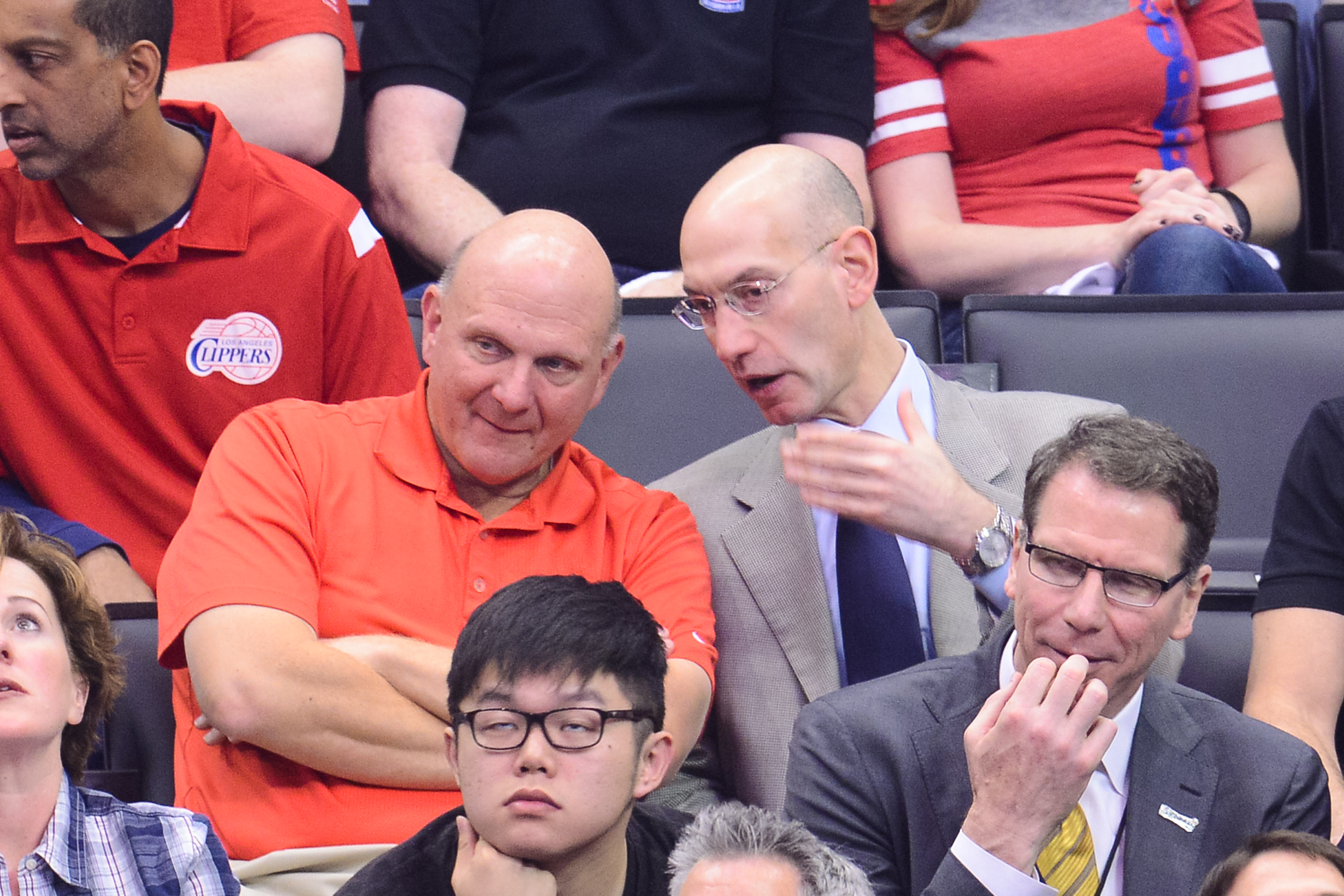 Steve Ballmer (L) and NBA Commissioner Adam SIlver attends an NBA playoff game between the Oklahoma City Thunder and the Los Angeles Clippers at Staples Center on May 11, 2014 in Los Angeles, California.