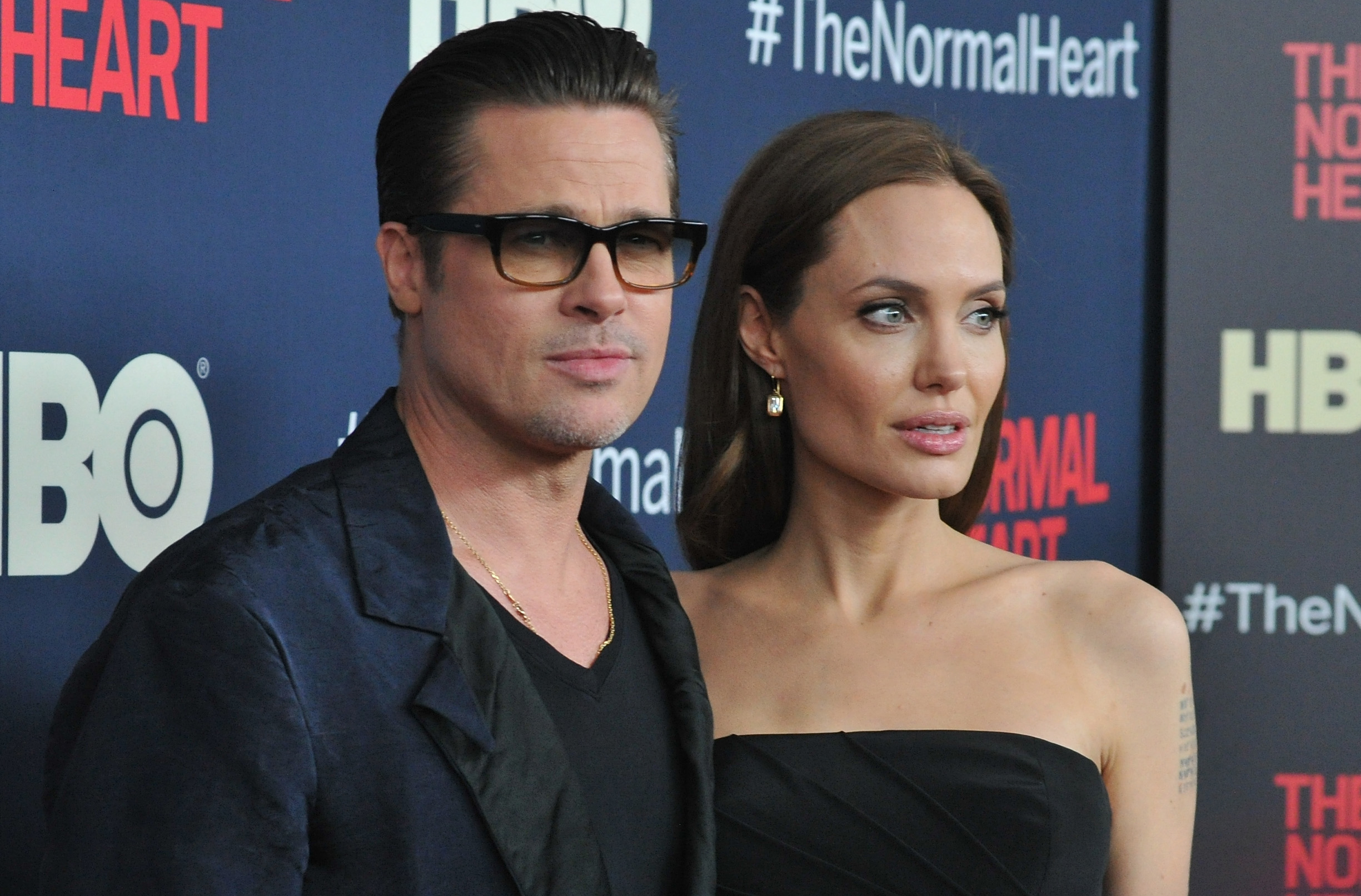 Brad Pitt and Angelina Jolie attend the New York premiere of  The Normal Heart  at Ziegfeld Theater on May 12, 2014 in New York City.