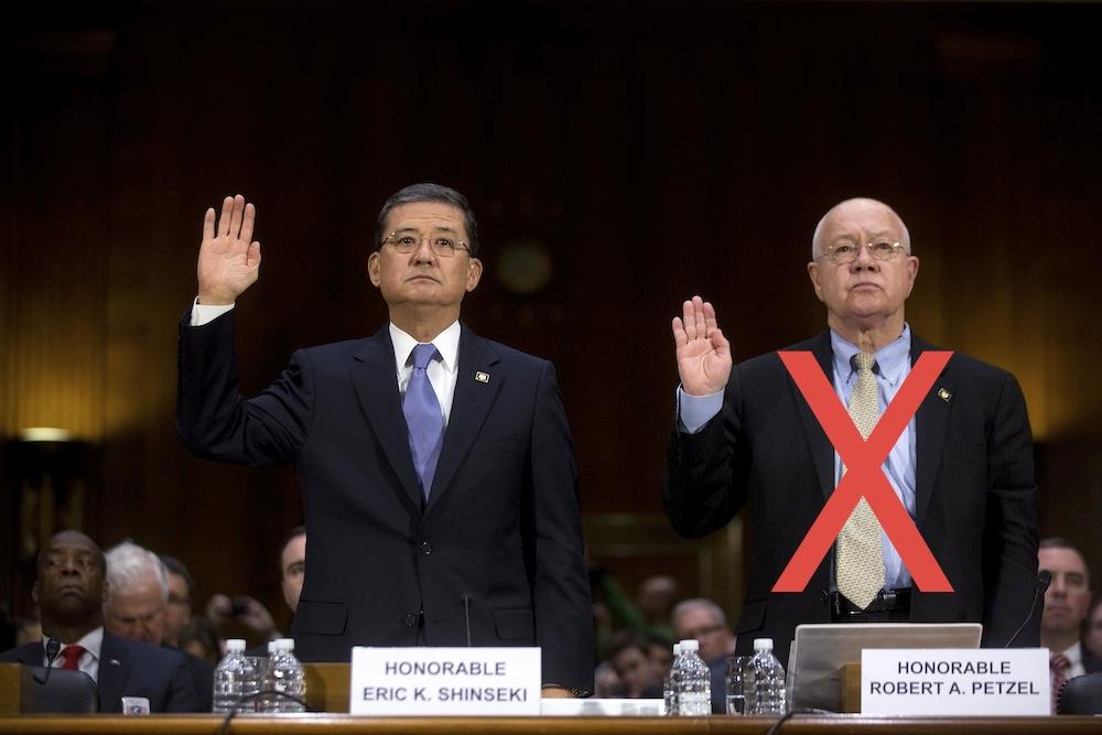 VA Secretary Eric Shinseki and VA health chief Robert Petzel appear before the Senate veterans committee last Thursday. The next day, Shinseki accepted Petzel's early retirement, effective immediately