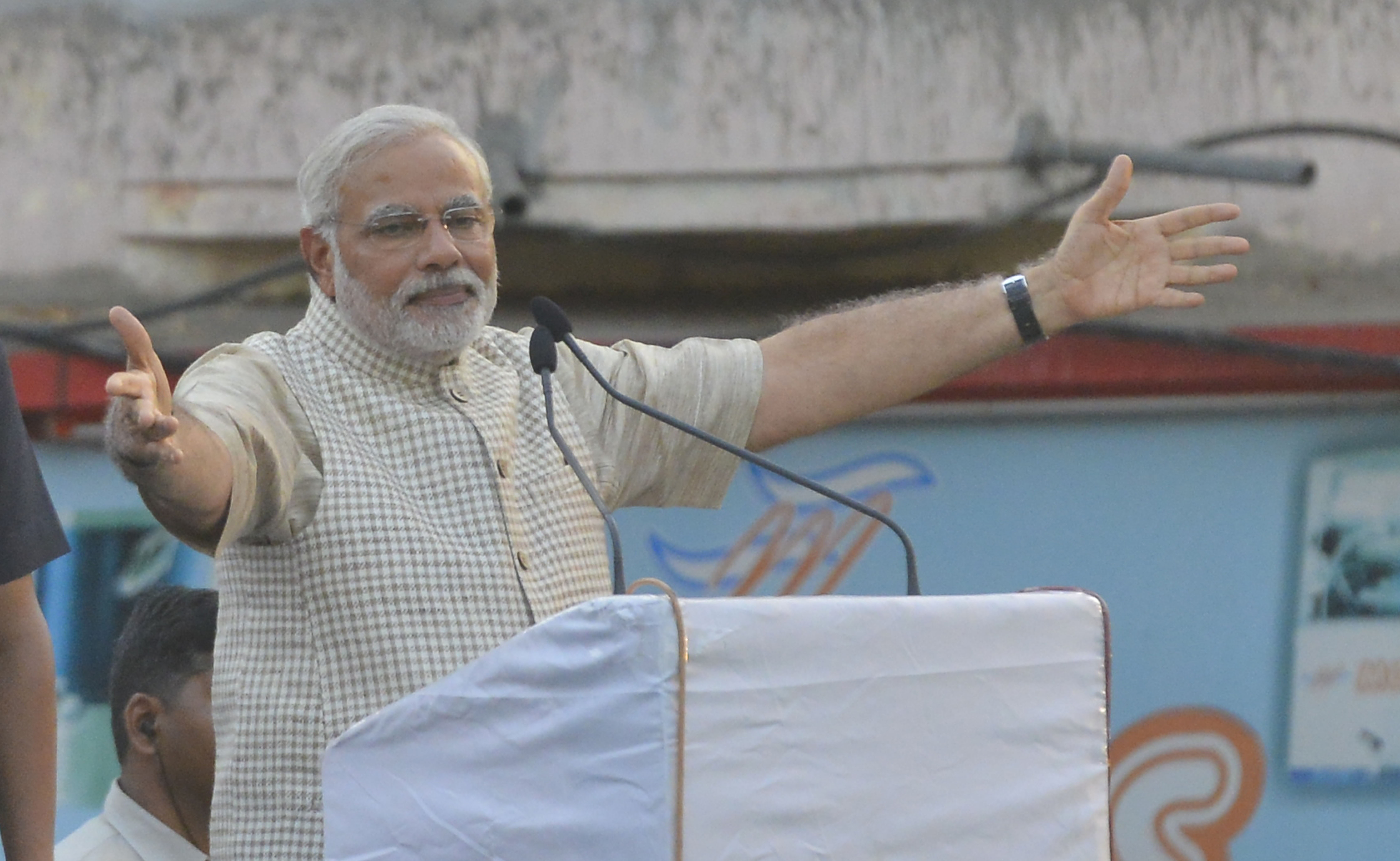 PM-designate Narendra Modi addressing a rally in Vadodara, Gujarat, after the BJP won the Lok Sabha elections on Friday, May 16, 2014.