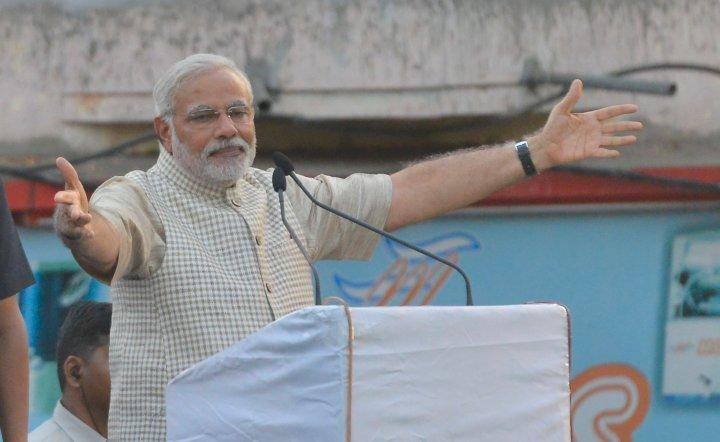 Narendra Modi addressing a rally in Vadodara