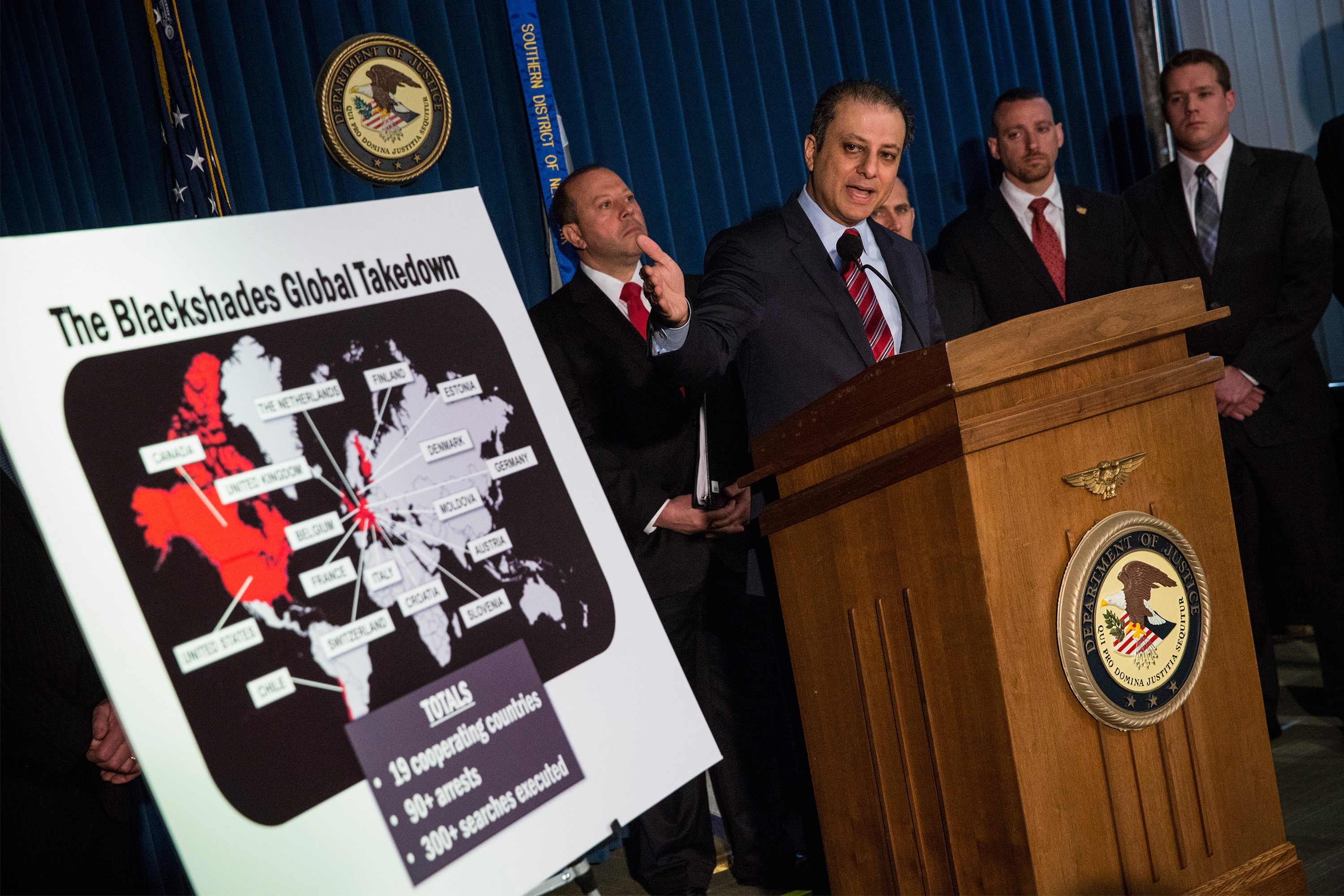 Preet Bharara, U.S. Attorney for the Southern District of New York, announces a massive law enforcement action targeting the creators of the Blackshades software - a malicious computer software that was openly sold on a website- on May 19, 2014 in New York City.