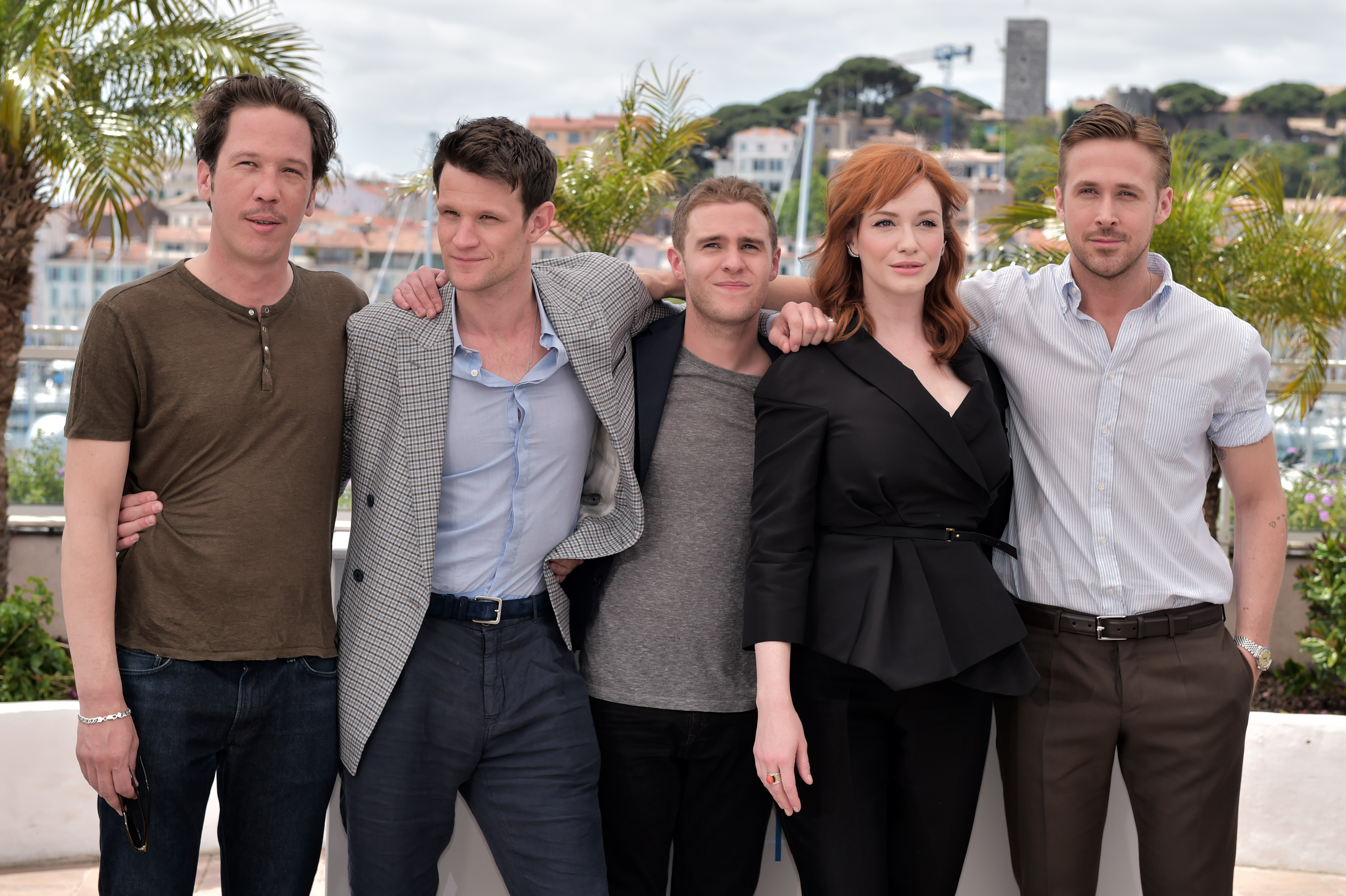 Reda Kateb, Matt Smith, Iain De Caestecker, Christina Hendricks and Ryan Gosling pose during a photocall for the film  Lost River  at the 67th edition of the Cannes Film Festival in Cannes, France, on May 20.