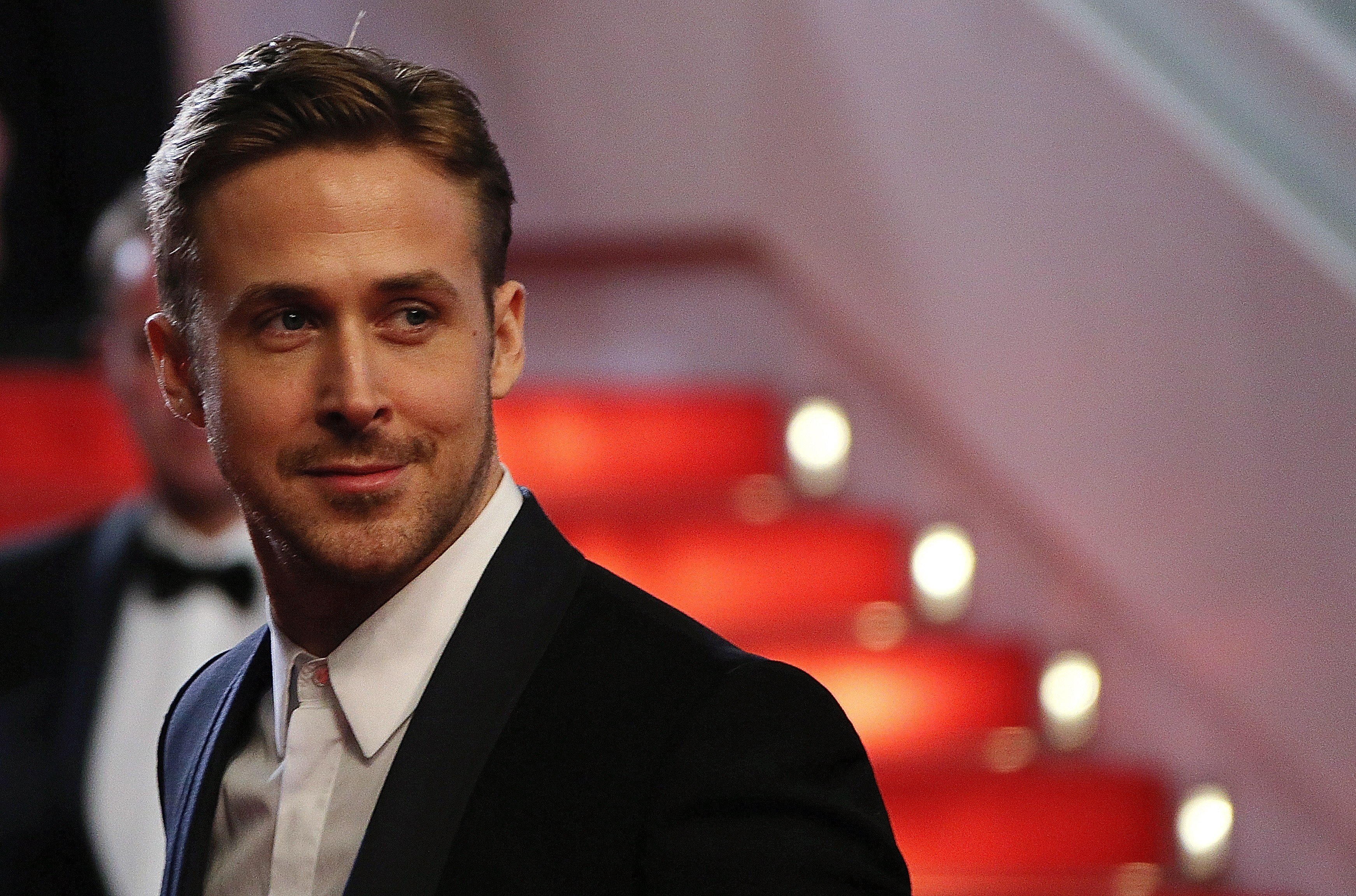 Ryan Gosling poses as he arrives for the screening of the film  Lost River  at the 67th edition of the Cannes Film Festival in Cannes, southern France, on May 20, 2014.