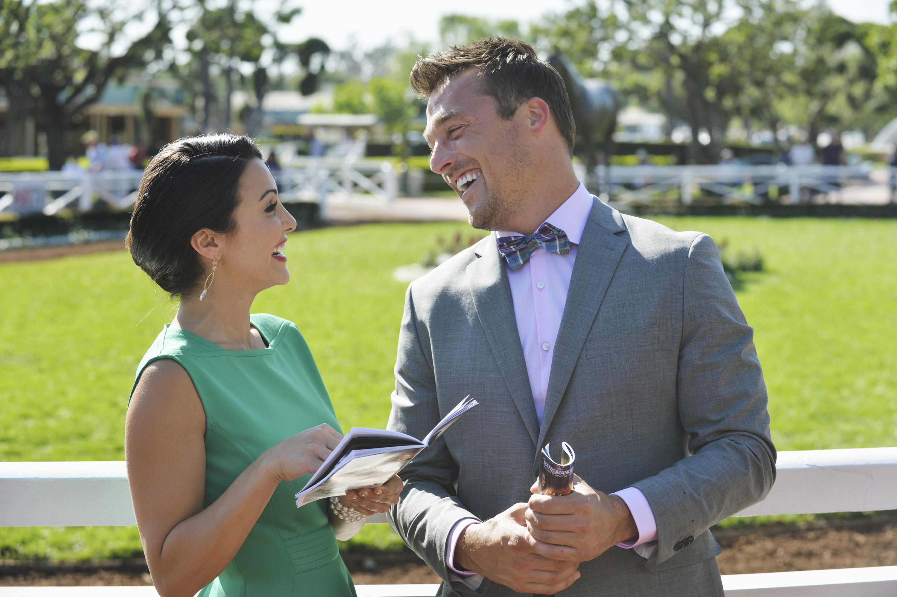 THE BACHELORETTE -  Episode 1002  - Andi treats Chris to a glamorous day of horse racing at Santa Anita Park, as the couple gets decked out in outfits reminiscent of the 1940's. They settle into their VIP seats with mint juleps and binoculars ready to see if their bets pay off. That night, they enjoy a special evening, slow dancing to the songs of  This Wild Life  during a private concert. Does this mean their relationship is on a fast track? - on  The Bachelorette,  MONDAY, MAY 26 (8:00-10:01p.m., ET) on the ABC Television Network. (Photo by Todd Wawrychuk/ABC via Getty Images)