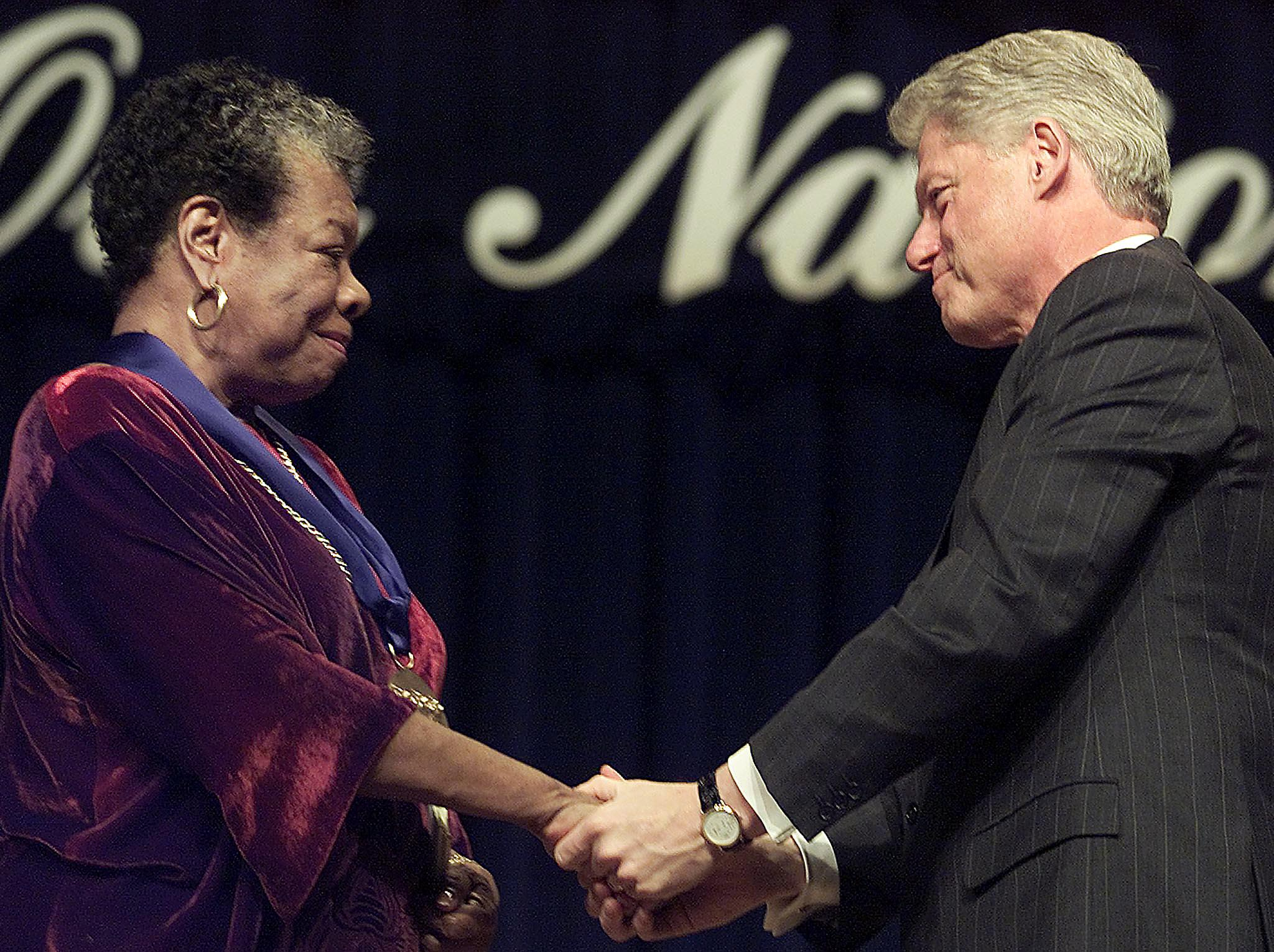 On December 20, 2000, President Bill Clinton, gave Angelou the National Medal of Arts, highest award given to artists and arts patrons by the U.S. government, at Constitution Hall in Washington, DC.