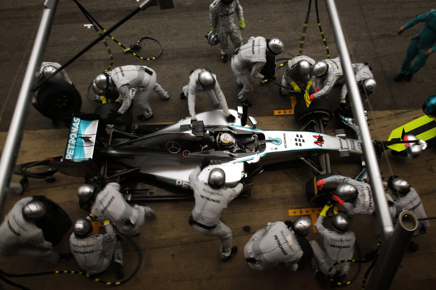 May 11, 2014. Mercedes driver Lewis Hamilton of Britain gets a pit service during the Spain Formula One Grand Prix at the Barcelona Catalunya racetrack in Montmelo, near Barcelona.