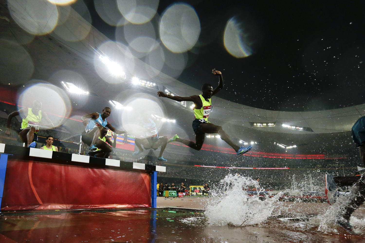 May 21, 2014. Athletes compete in the men's 3000m steeplechase at the 2014 IAAF World Challenge Beijing held at China's National Stadium in Beijing.