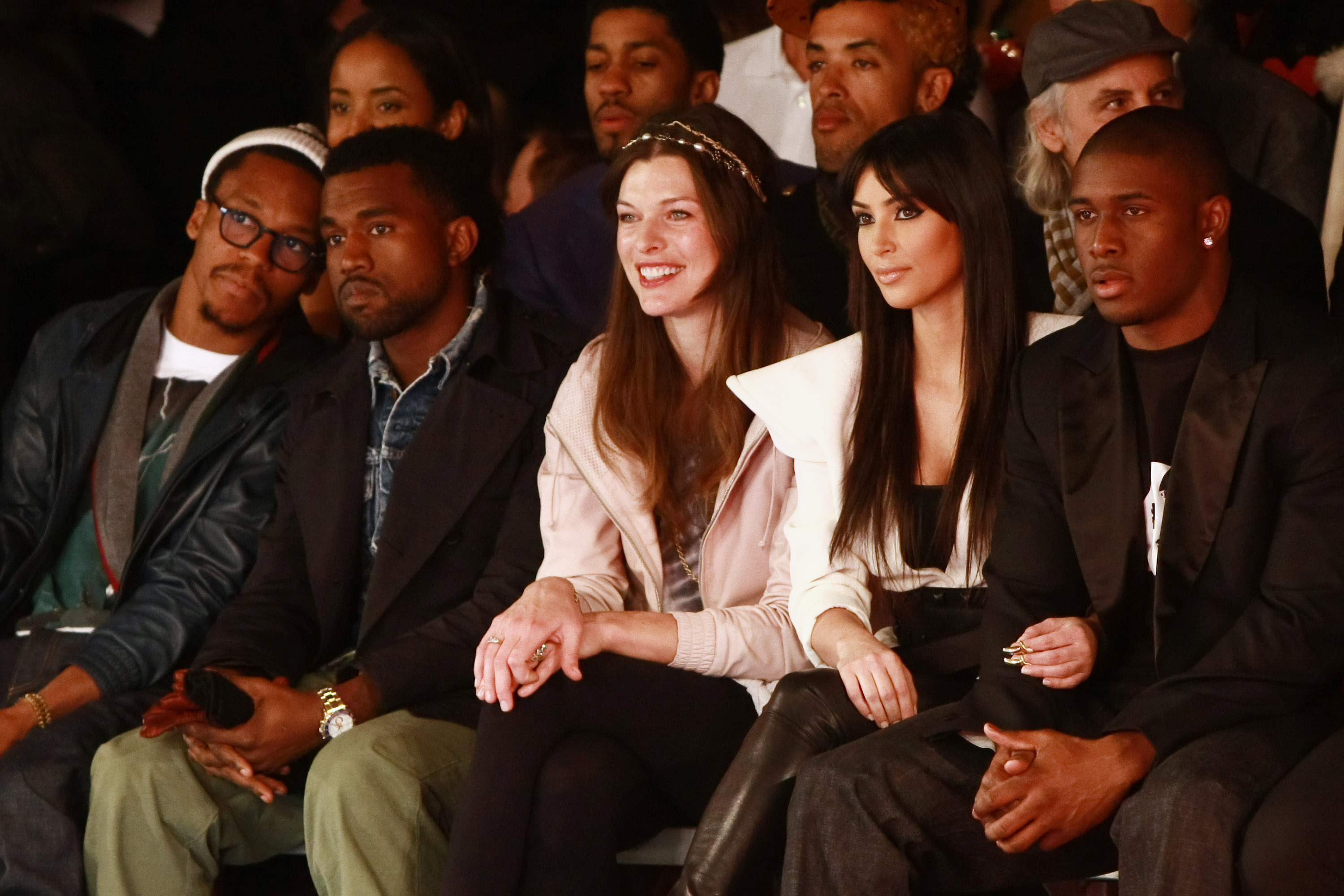 In February 2009, Kim and Kanye were spotted sitting <i>almost</i> next to each other at the Y-3 show during New York Fashion Week. Kim was with boyfriend Bush. Later that week, Kanye outed his relationship with model Amber Rose.