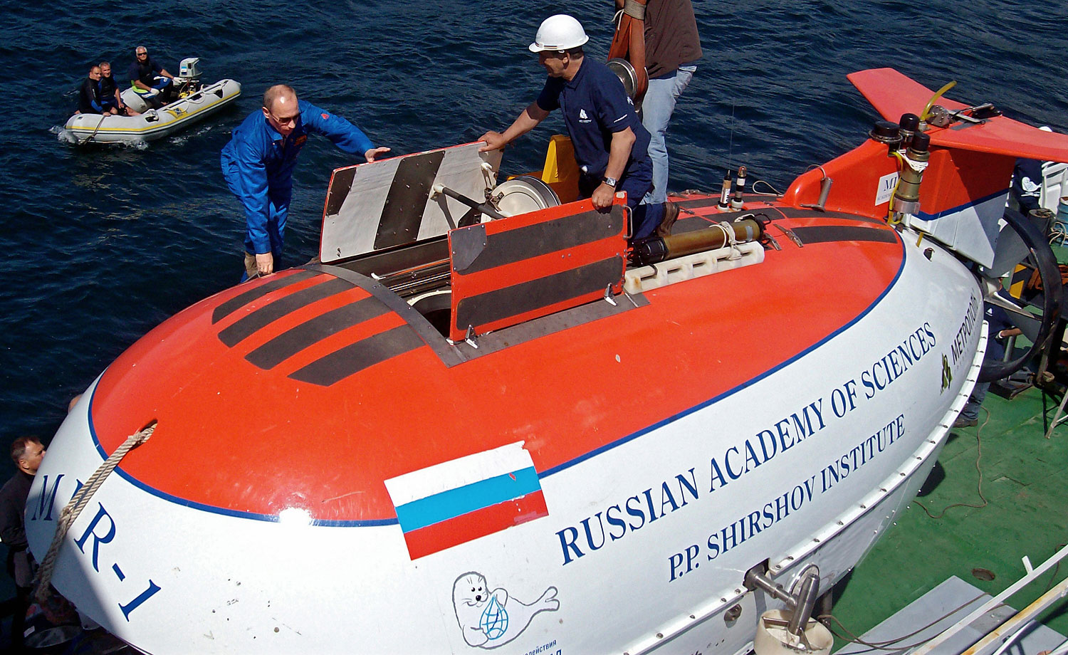 At majestic Lake Baikal, Putin descended 4,500 ft. (almost 1,400 m) to the bottom, Aug. 1, 2009.