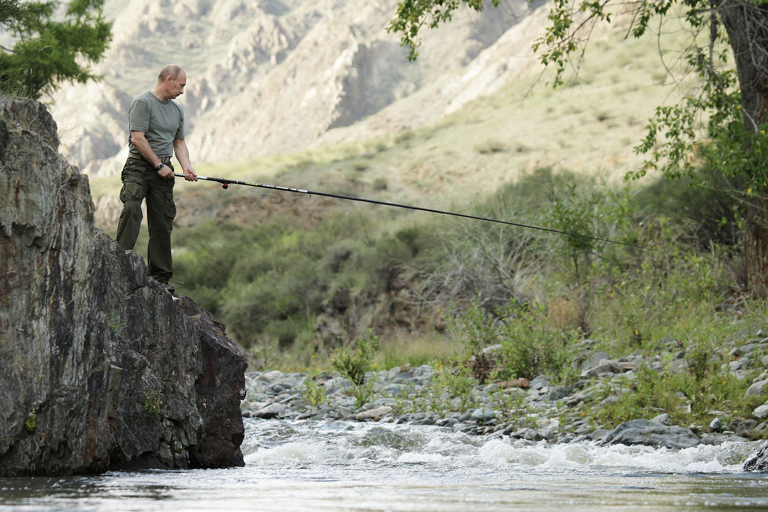 Putin hooked at least one fish from this perch, Aug. 3, 2009.