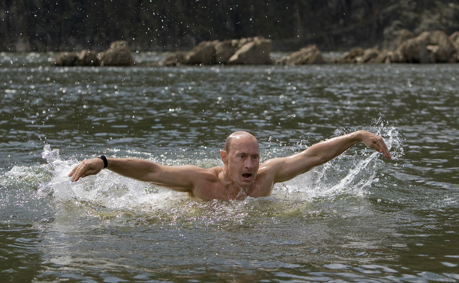 Putin prides himself on staying in peak physical condition, Aug. 3, 2009.