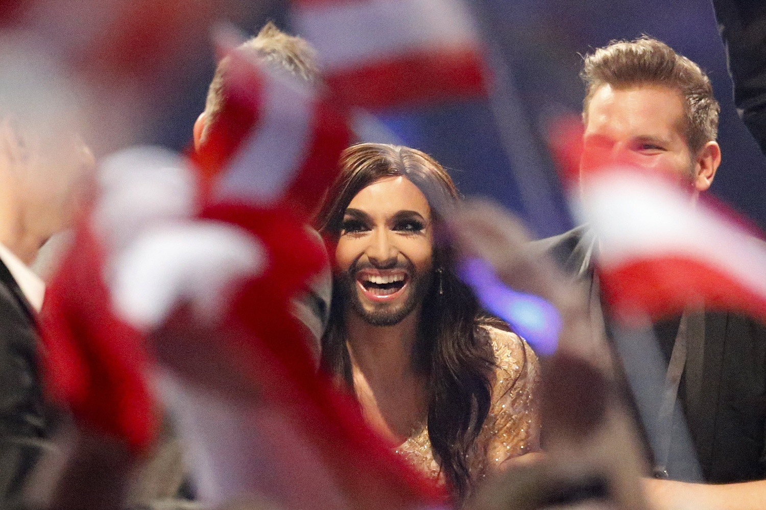 Singer Conchita Wurst representing Austria who performed the song 'Rise Like a Phoenix'  listens as points are announced during the judging at the final of the Eurovision Song Contest  in the B&W Halls in Copenhagen, on May 10, 2014.