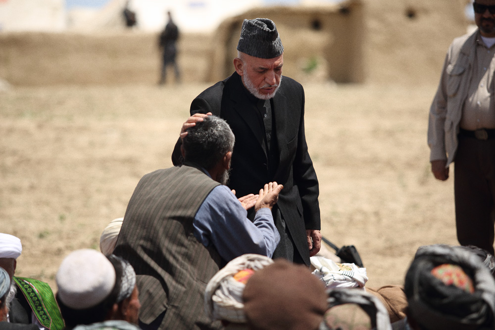 President Hamid Karzai visited Abi Barik and spoke to villagers following the landslides. He appeased one man who had stood up to speak and passionately raise his concerns, May 7, 2014.