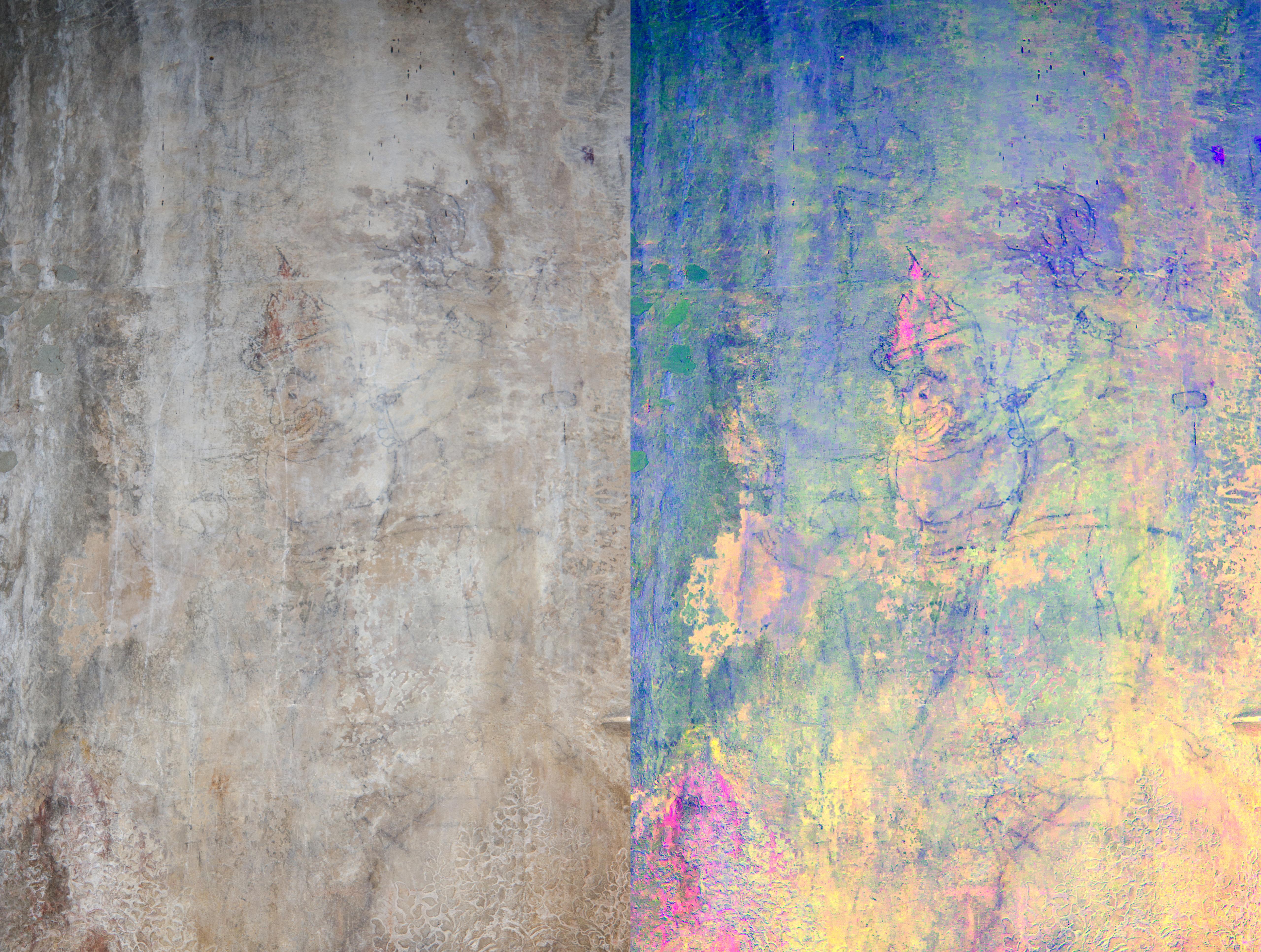 Left: plain view; right: after decorrelation stretch analysis digital enhancement