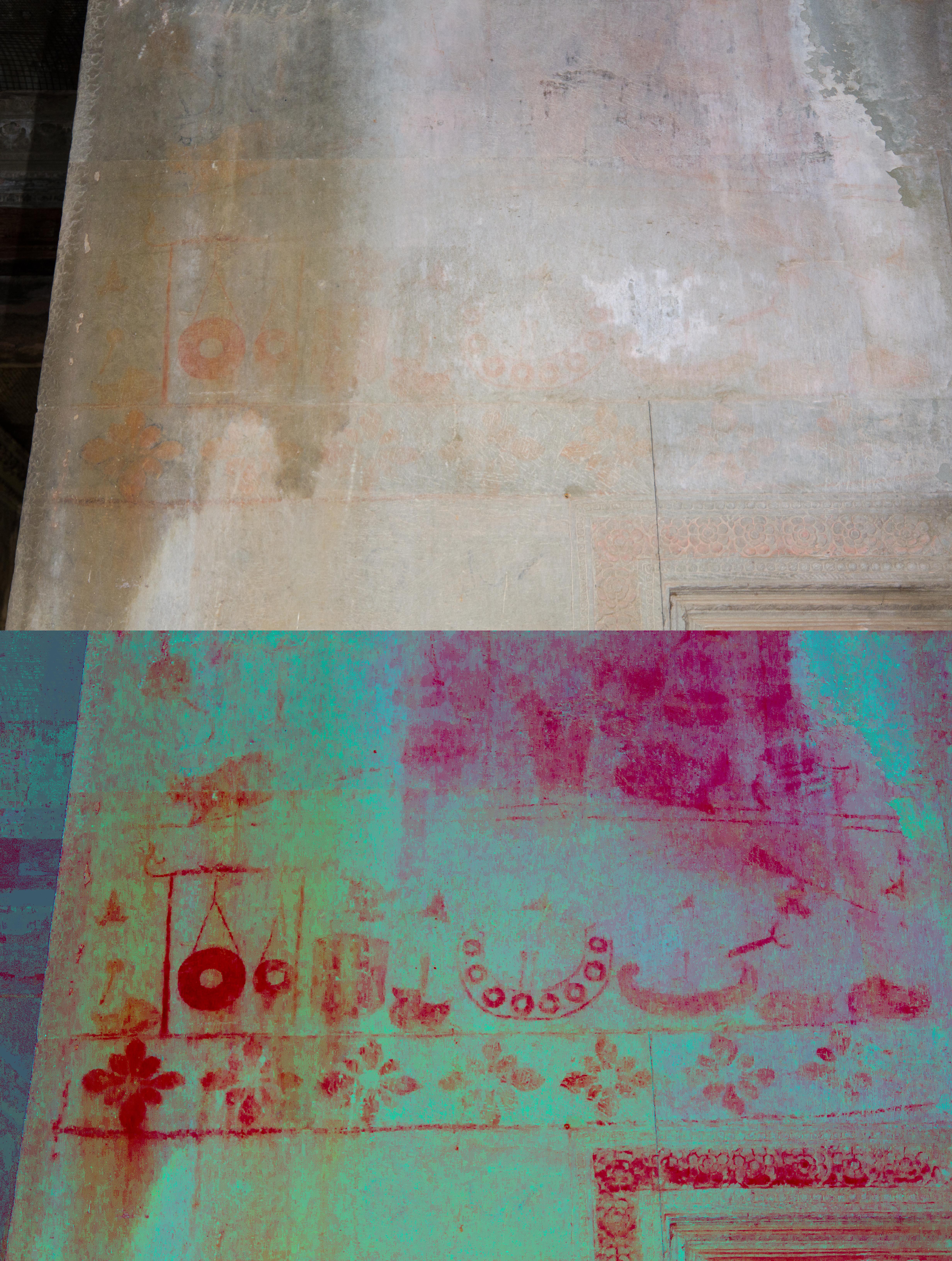 Top: plain view; bottom: after decorrelation stretch analysis digital enhancement