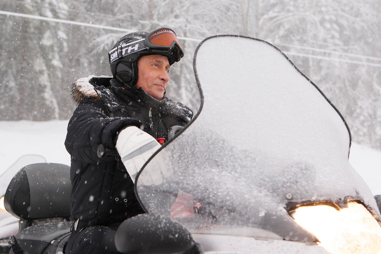Putin snowmobiles in Krasnaya Polyana near the Black Sea resort of Sochi, southern Russia, Jan. 3, 2010.