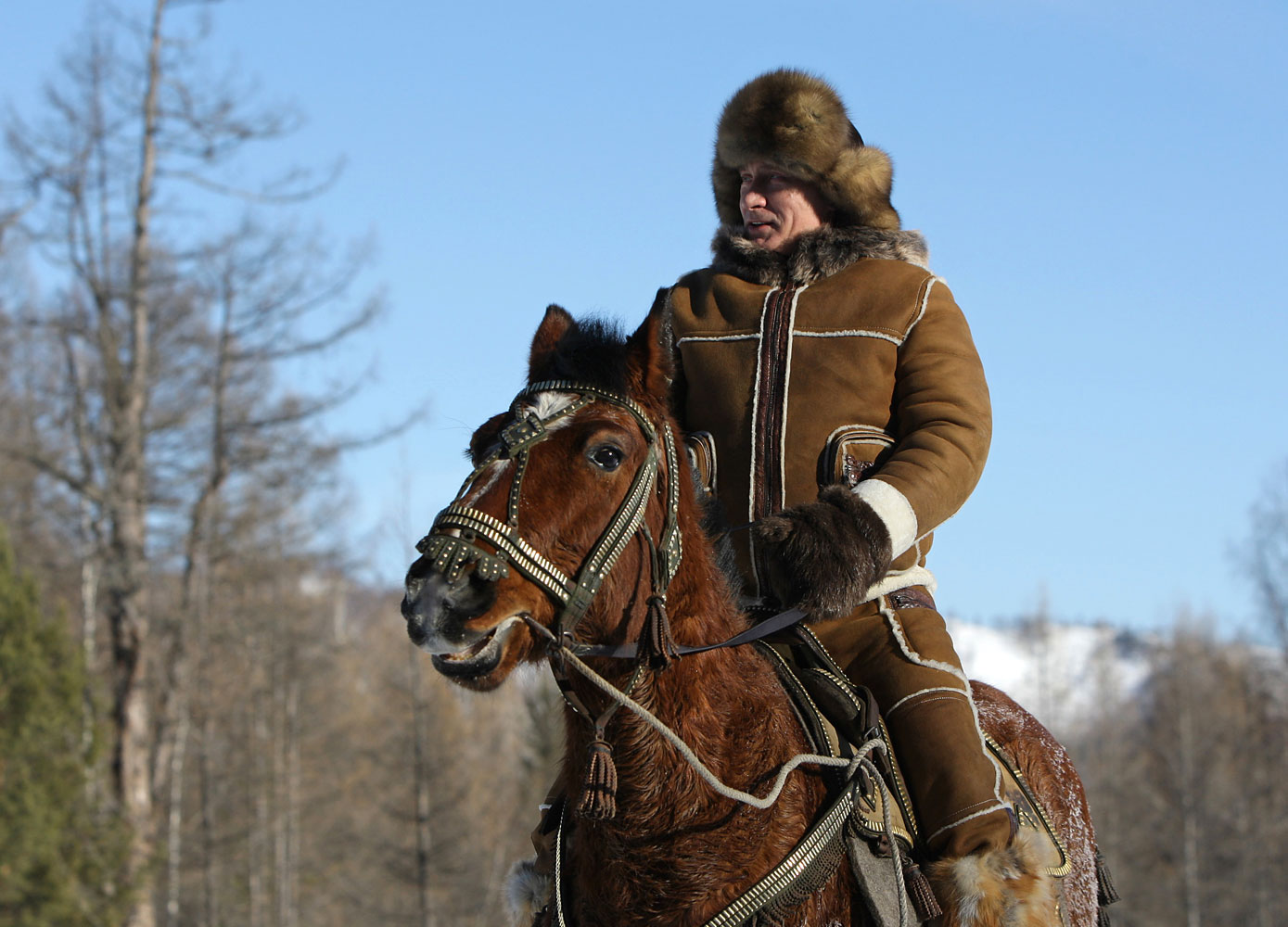 Then Prime Minister Putin rides a horse in the foothills of Karatash, near the capital of the Khakassia region in Siberia, Feb. 25, 2010.