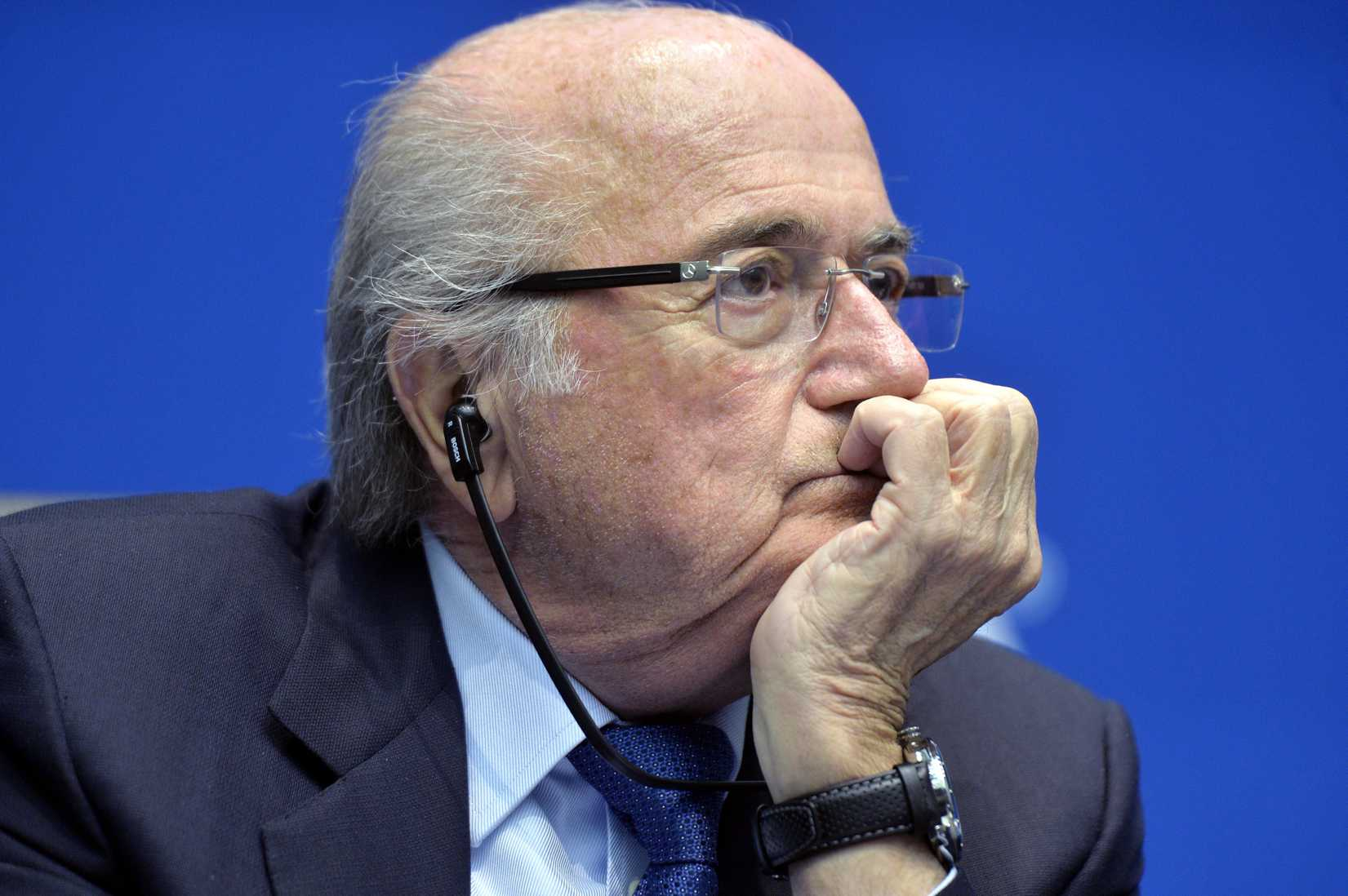 FIFA president Sepp Blatter attends a press conference at the conclusion of the meeting of the FIFA Executive Committee at the Home of FIFA in Zurich on Friday, March 21, 2014.