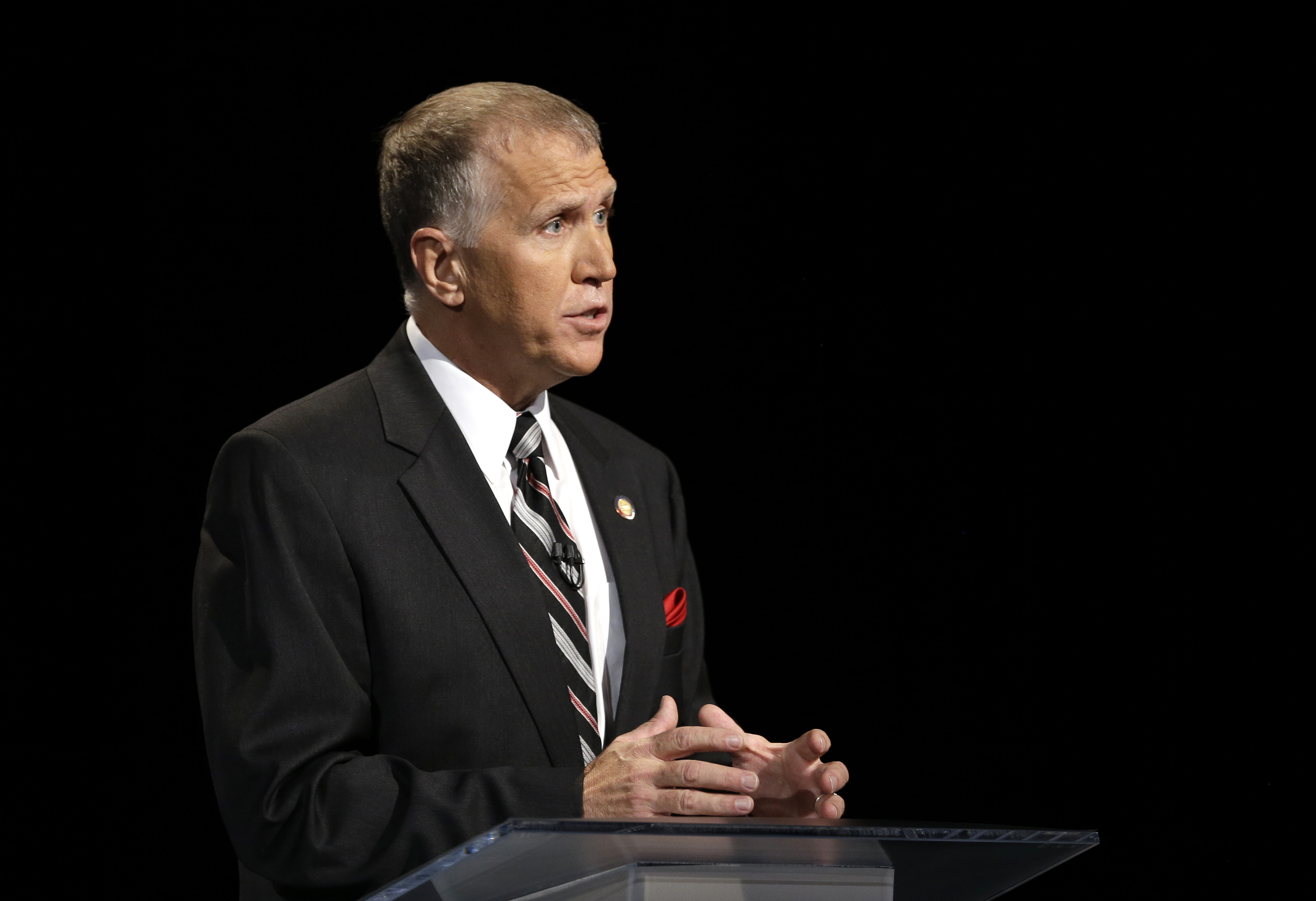 Republican senatorial candidate Thom Tillis speaks during a live televised debate at UNC-TV studios in Research Triangle Park, N.C., Monday, April 28, 2014.