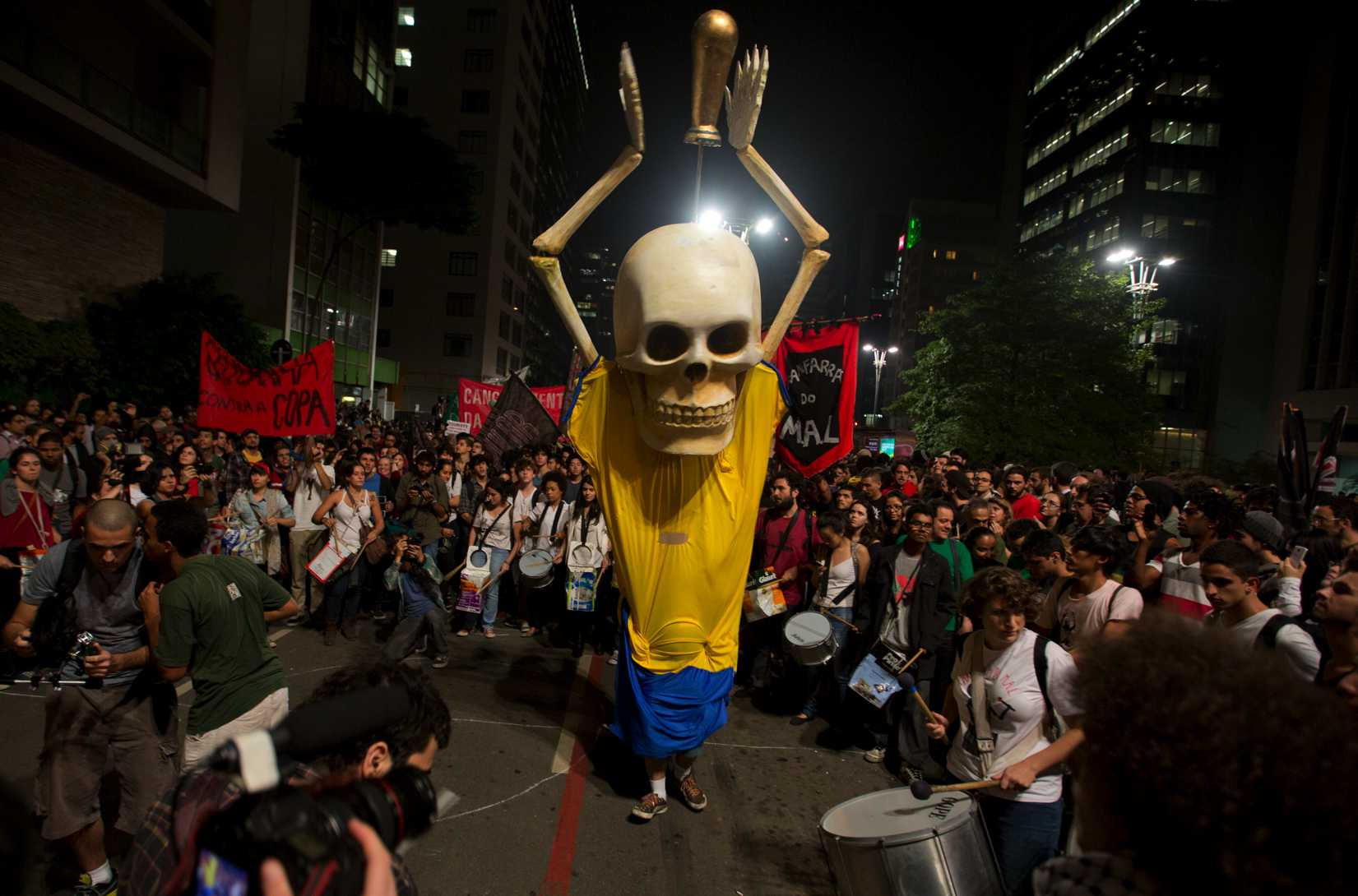 Hundreds of demonstrators protest against money spent on Brazil's World Cup preparations in São Paulo on Thursday, May 15, 2014.