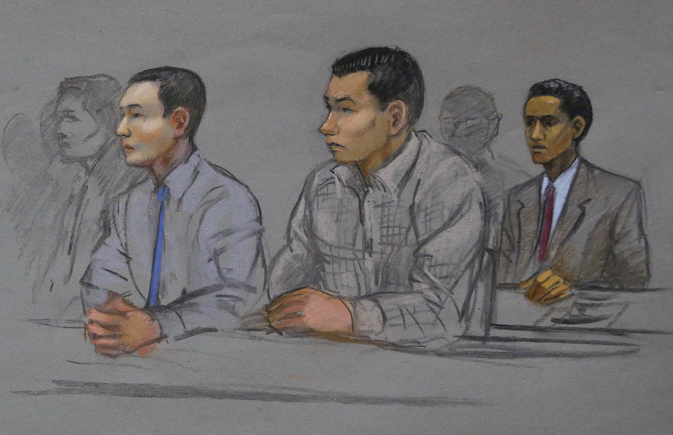 This courtroom sketch shows defendants Azamat Tazhayakov, left, Dias Kadyrbayev, center, and Robel Phillipos, right, college friends of Boston Marathon bombing suspect Dzhokhar Tsarnaev, during a hearing in federal court Tuesday, May 13, 2014, in Boston.
