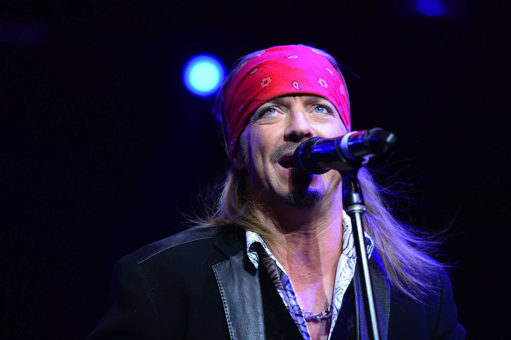 Singer Bret Michaels performs at the  Sing For Your Supper Campaign  Launch at Hard Rock Cafe in New York, NY, on April 15, 2014.