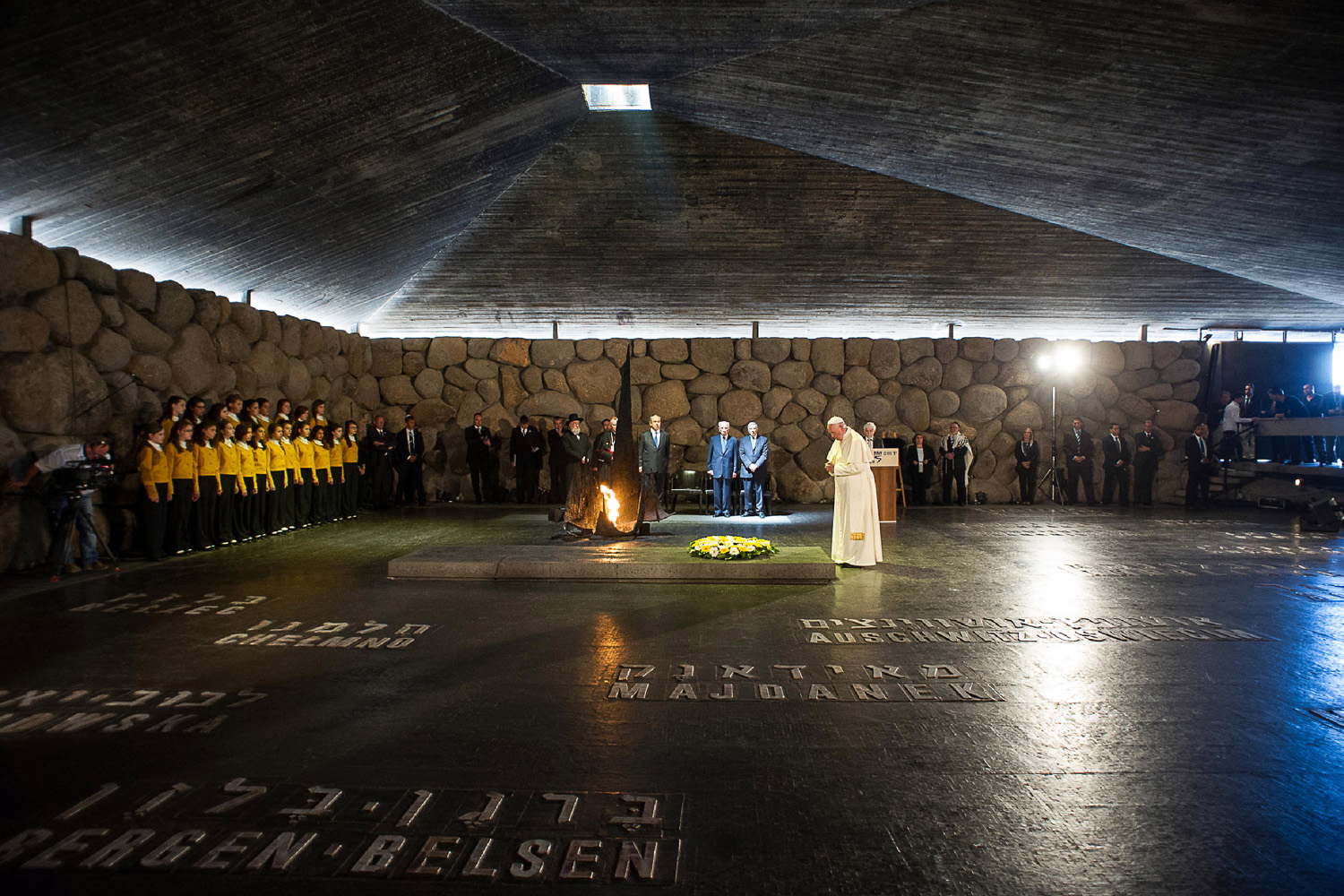 May 26, 2014.  Pope Francis lays a wreath at the Hall of Remembrance at the Yad Vashem Holocaust memorial in Jerusalem.