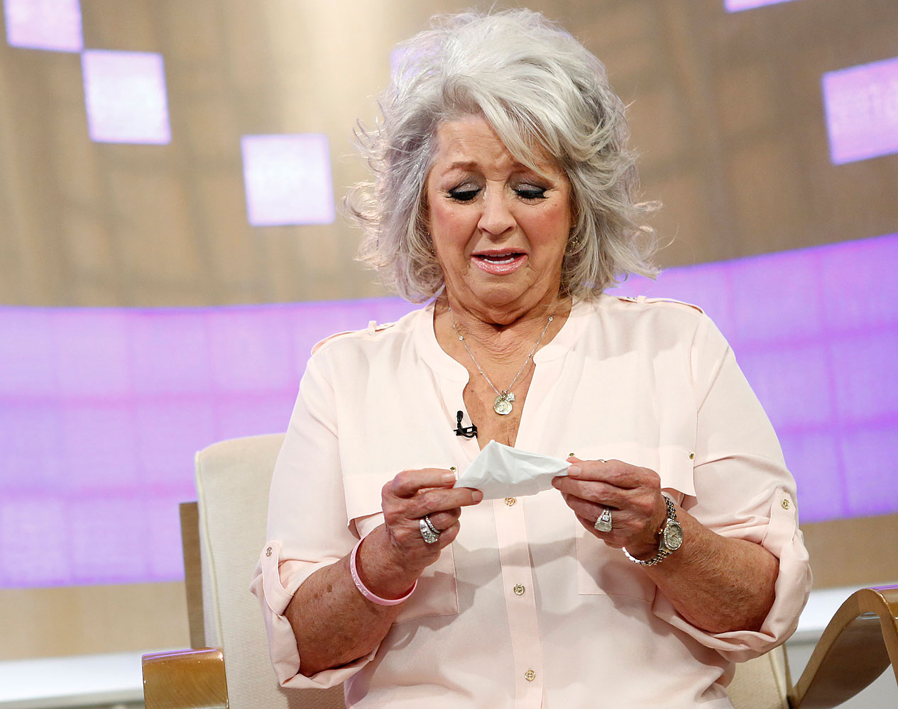 Celebrity chef Paula Deen cries on NBC News'  Today  show in New York days after she issued two videotaped apologies on YouTube seeking forgiveness following her admission that she used a racial slur in the past, June 26, 2013.