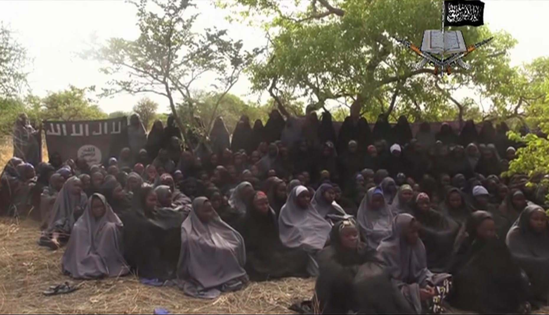 This photo taken from a video by Nigeria's Boko Haram terrorist network on May 12, 2014, purportedly shows some of the kidnapped girls