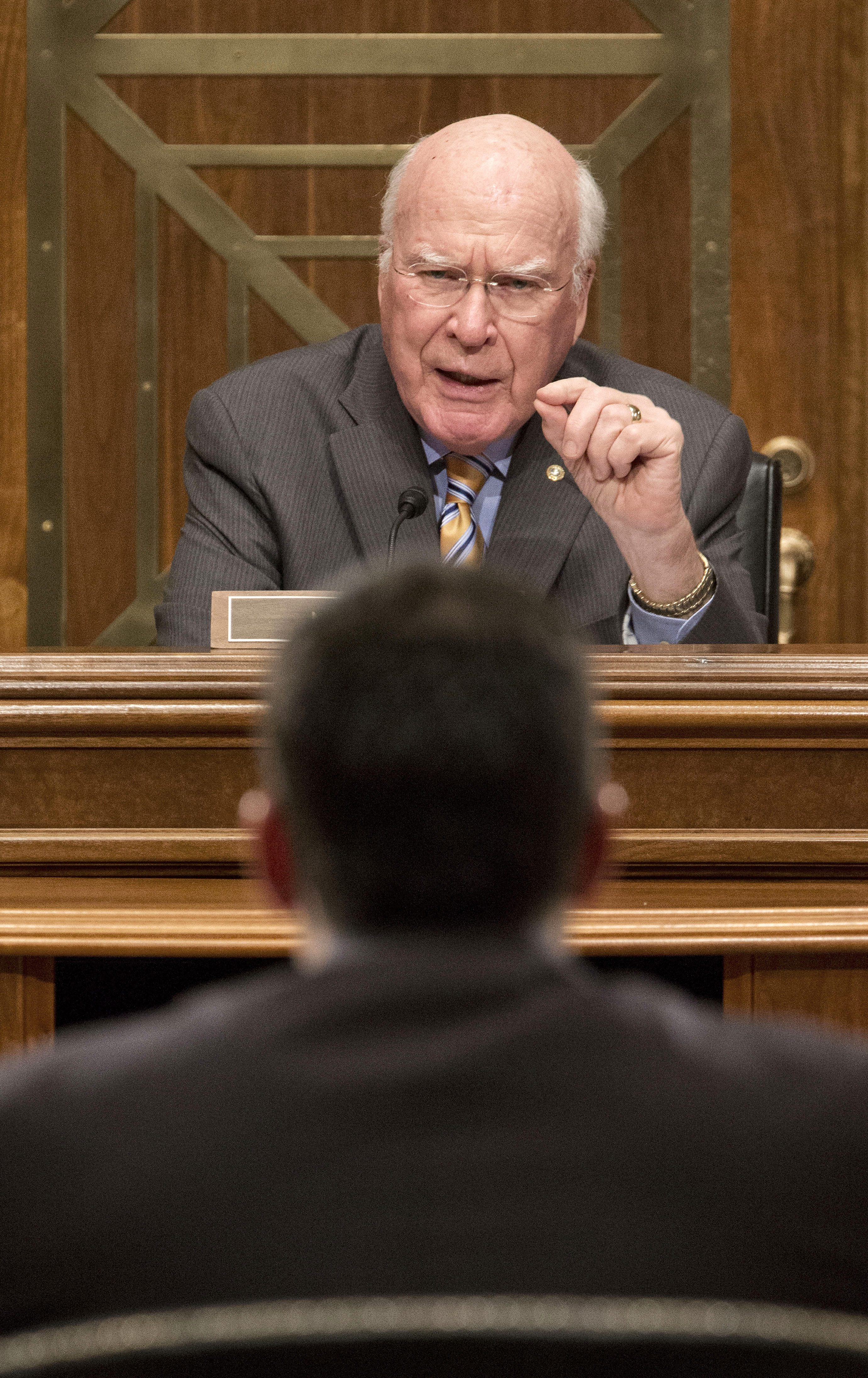 Sen. Patrick Leahy, D-VT., top, chairs a hearing last month.