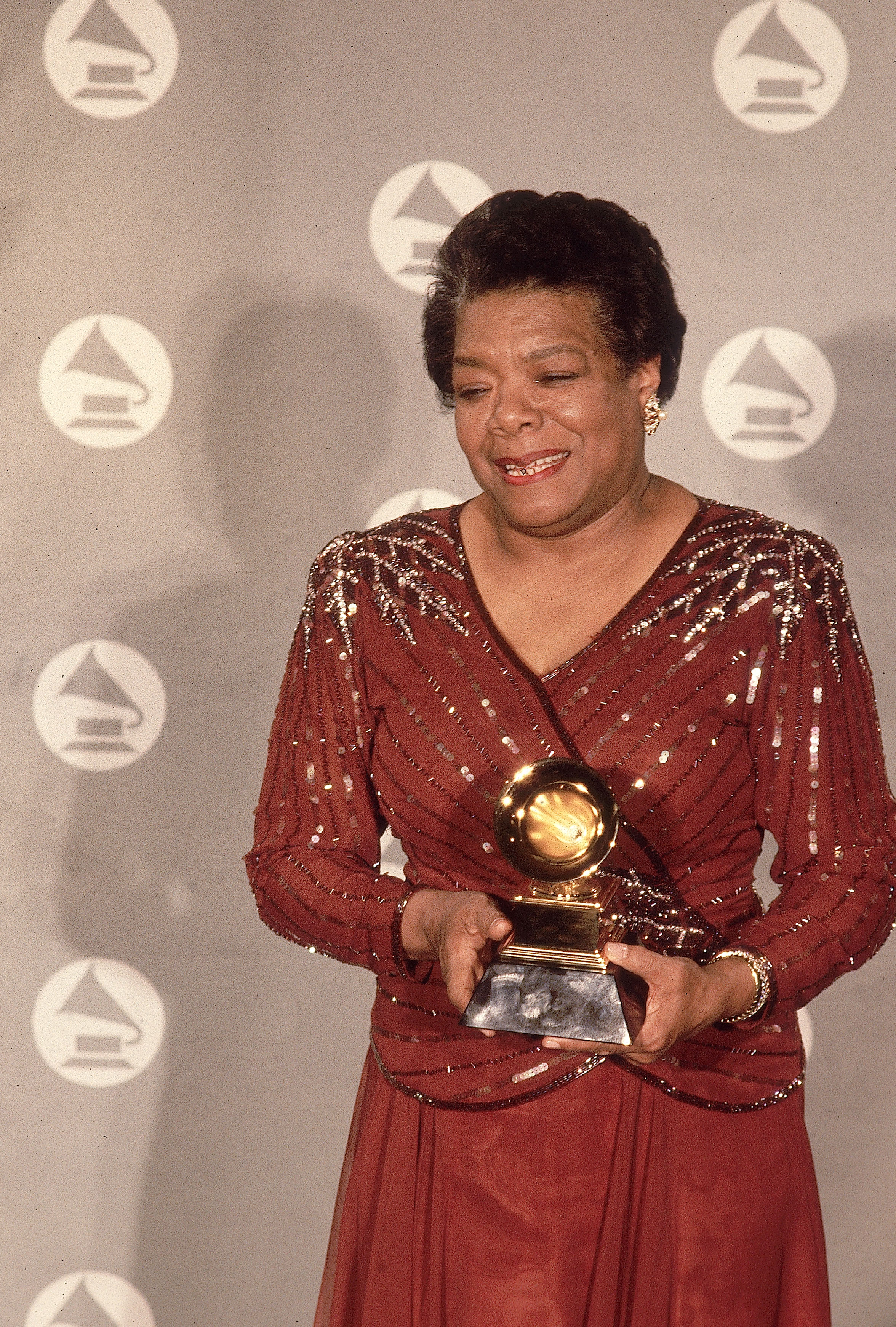 "Maya Angelou is pictured at the 36th Annual Grammy Awards, where she took home an award in the Spoken Word category for her poem ""On the Pulse of Morning,"" which she read for President Bill Clinton's inauguration. Angelou would go on to win two other Grammys in the same category."